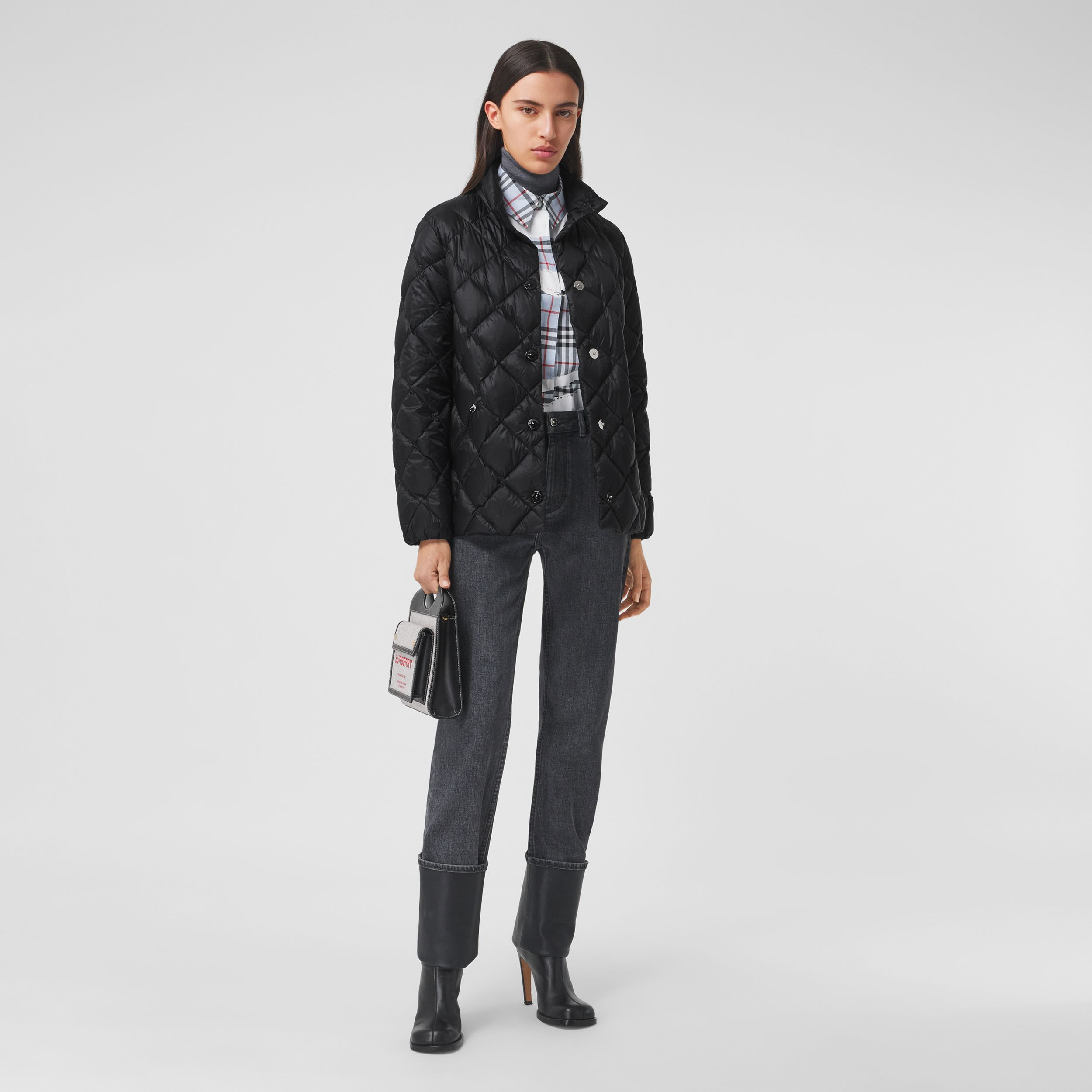 Diamond Quilted Down-filled Jacket in Black - Women | Burberry Australia - 1