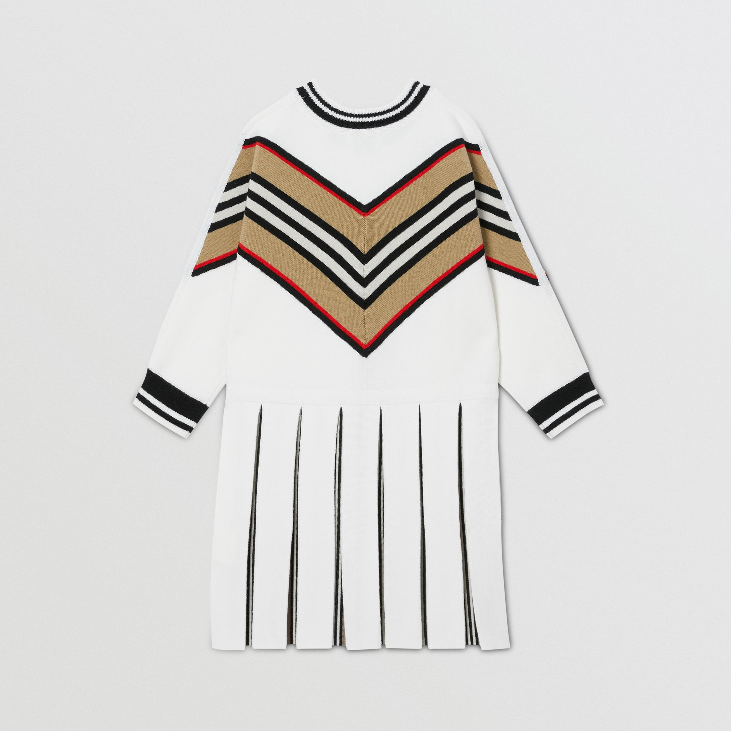 Long-sleeve Icon Stripe Panel Wool Blend Dress | Burberry - 4