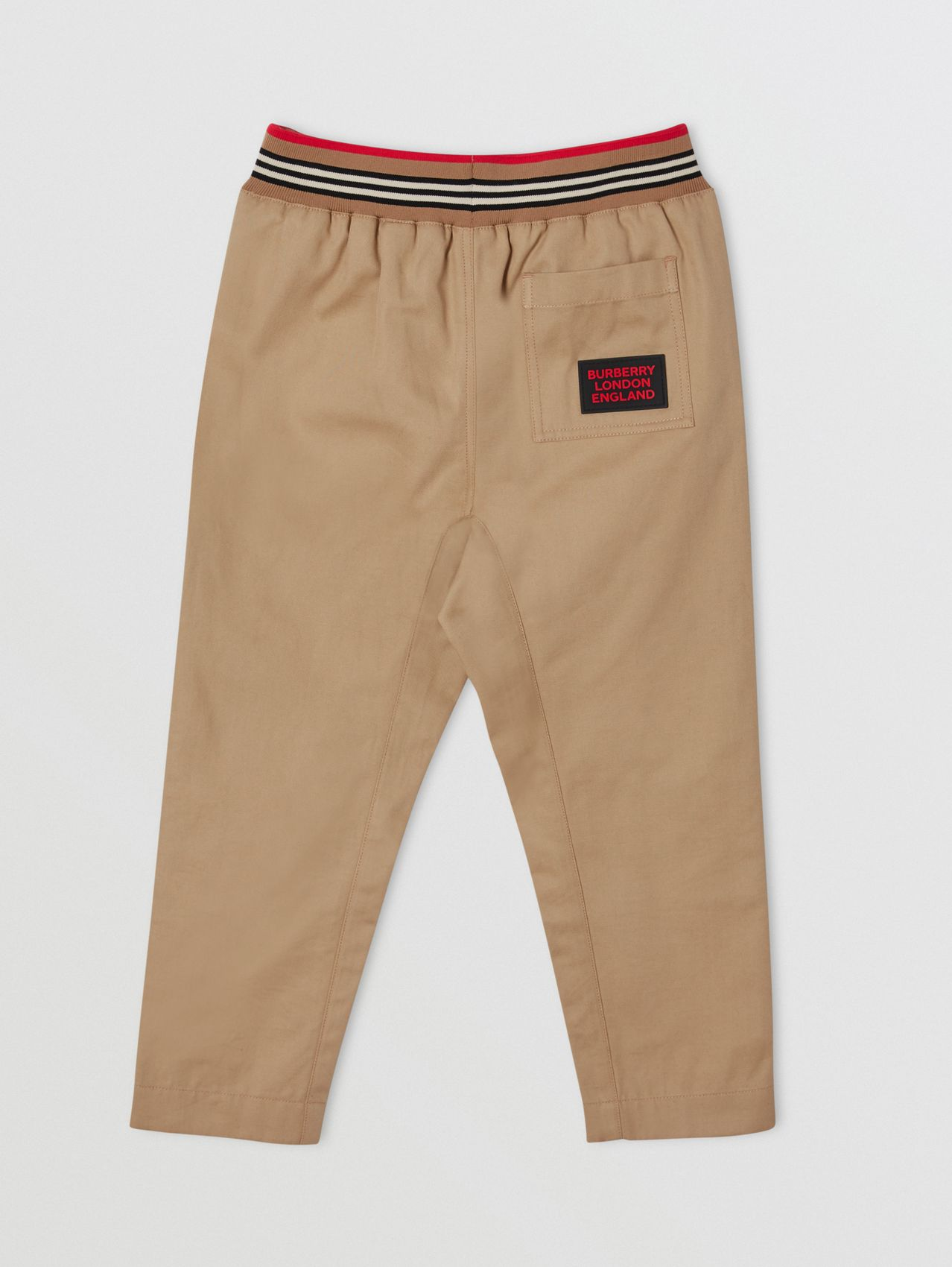Icon Stripe Detail Cotton Twill Drawcord Trousers in Archive Beige