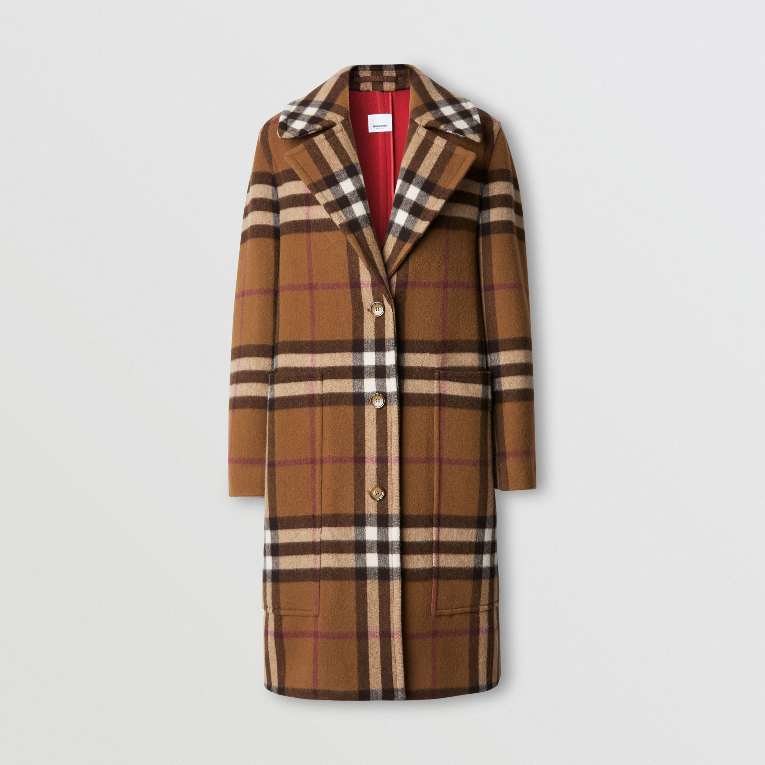 Check Wool Tailored Coat in Birch Brown - Women | Burberry - 4