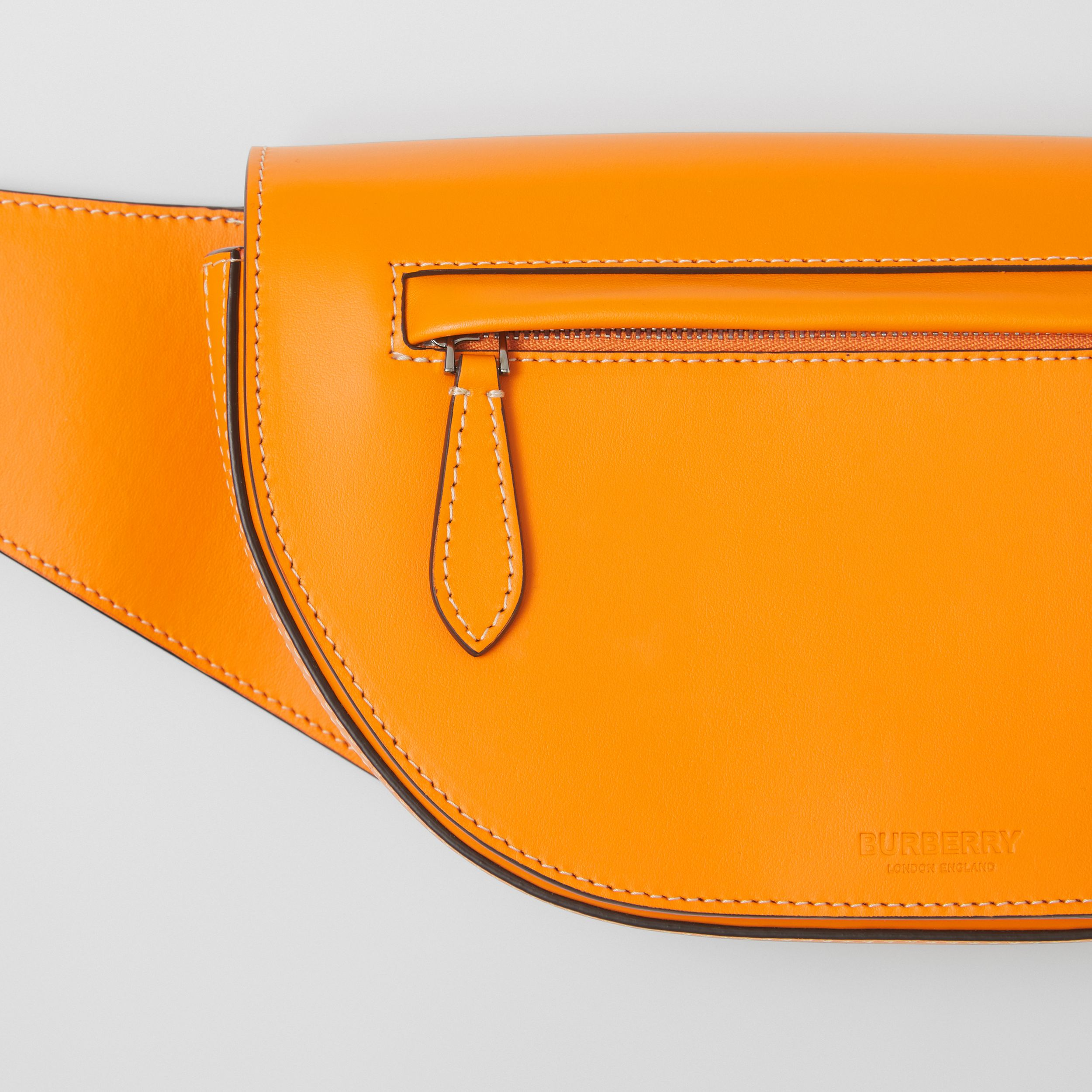 Small Leather Olympia Bum Bag in Deep Orange - Men | Burberry - 2