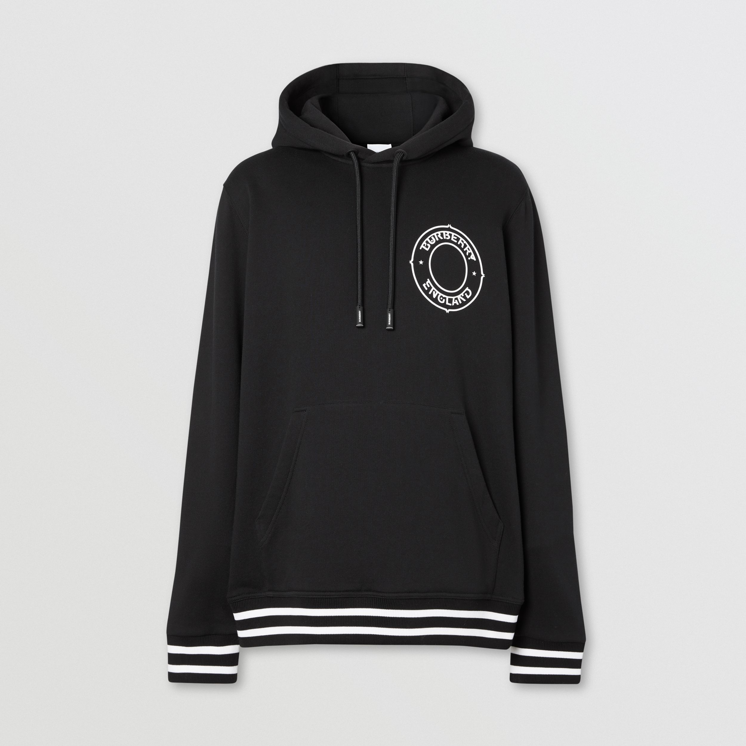 Logo Graphic Cotton Oversized Hoodie in Black - Men | Burberry - 4