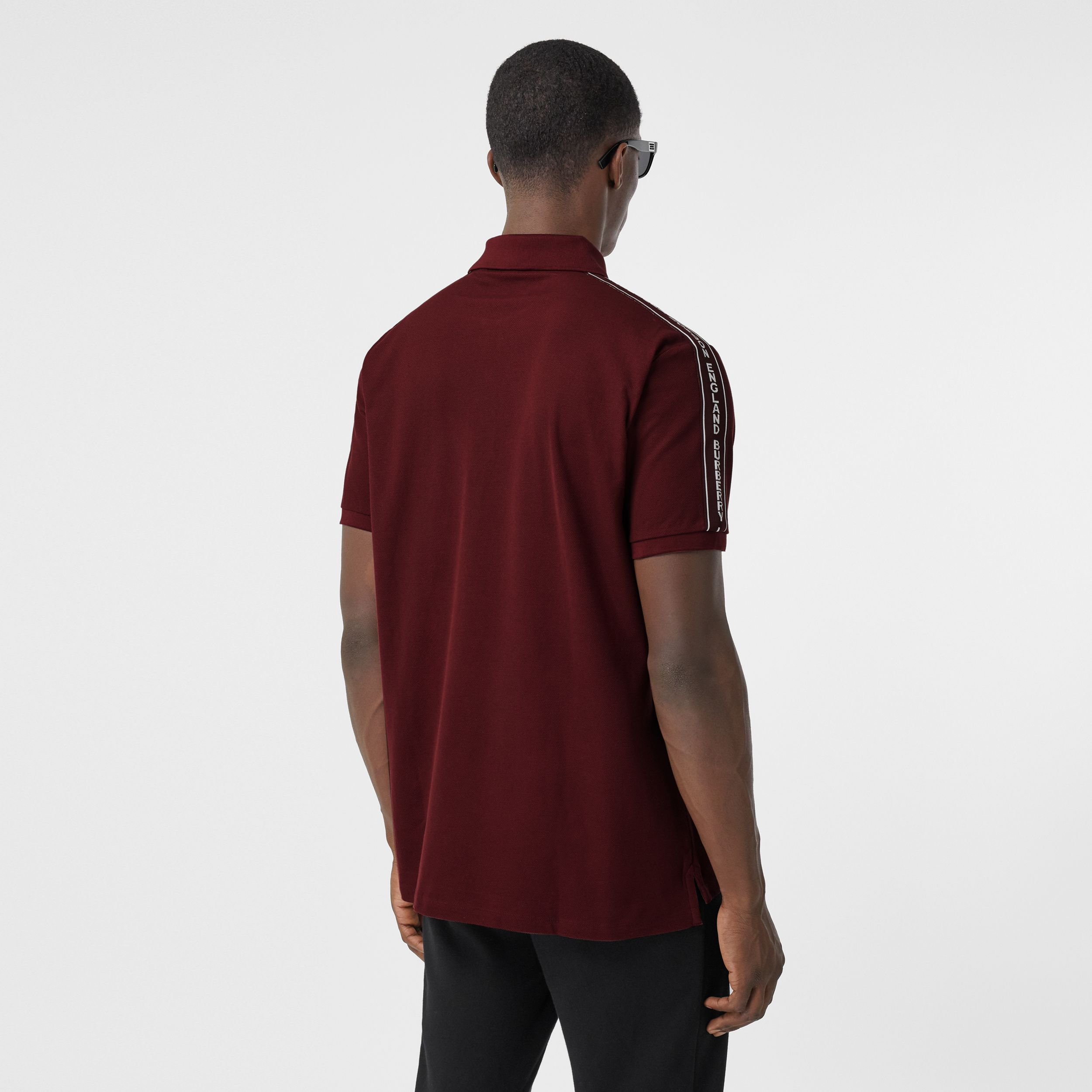 Logo Tape Cotton Piqué Polo Shirt in Deep Merlot - Men | Burberry - 3