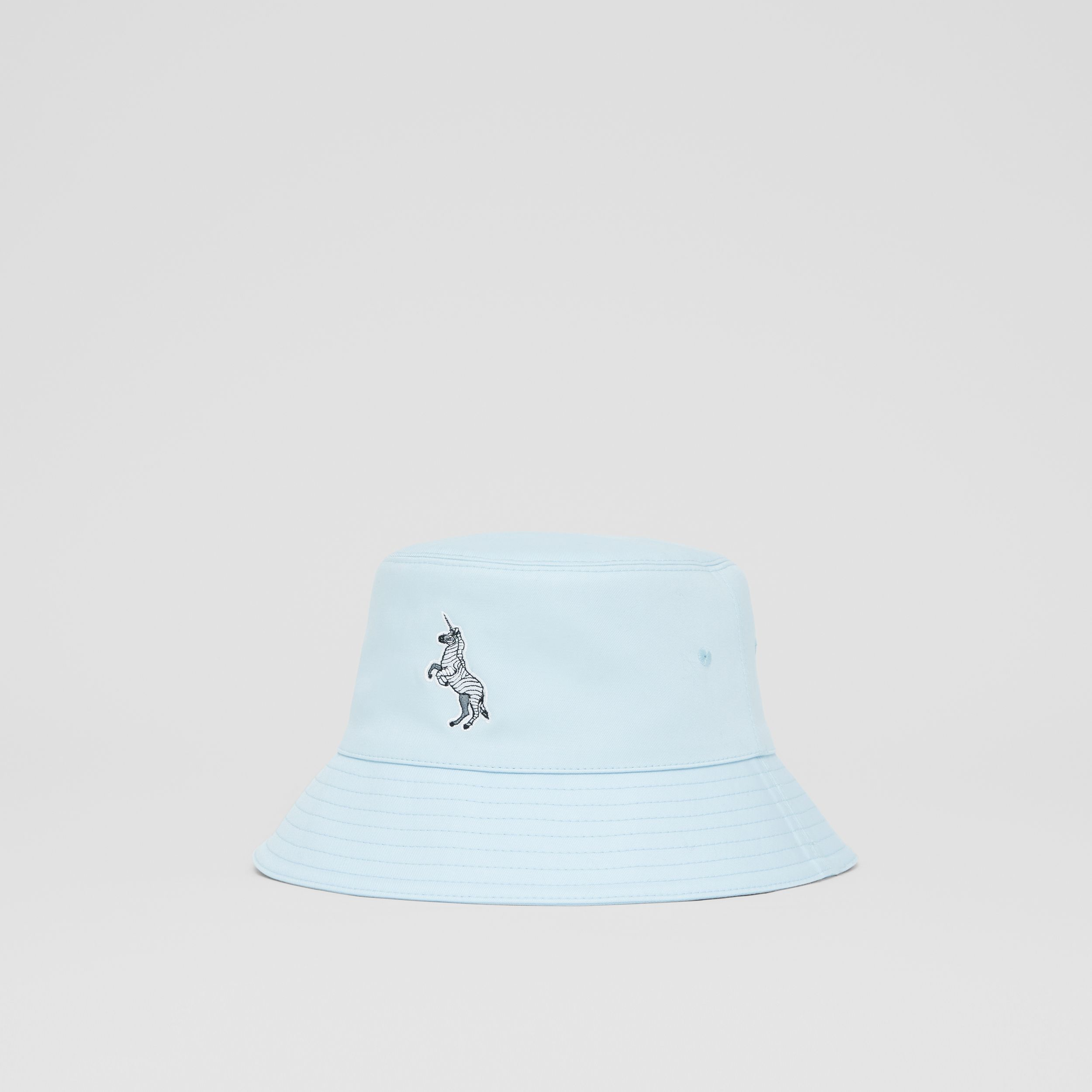 Zebra Appliqué Cotton Twill Bucket Hat in Pale Blue | Burberry United States - 4
