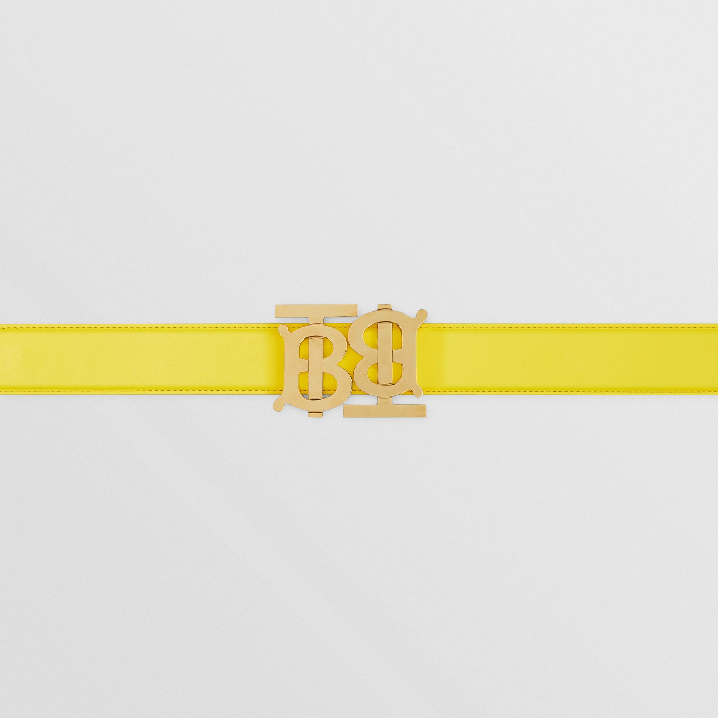Double Monogram Motif Leather Belt in Marigold Yellow - Women | Burberry - 2