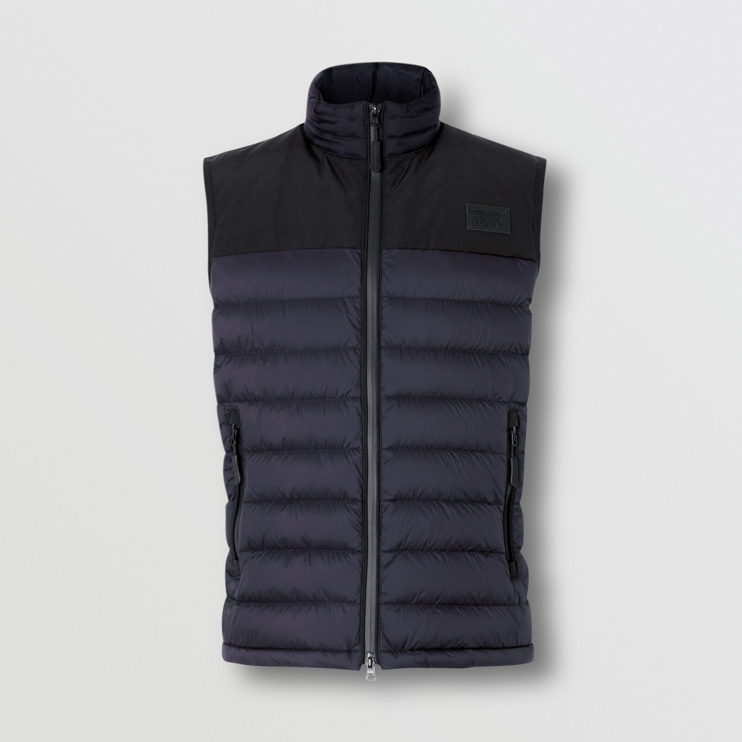 Logo Appliqué Lightweight Puffer Gilet in Navy - Men | Burberry - 4