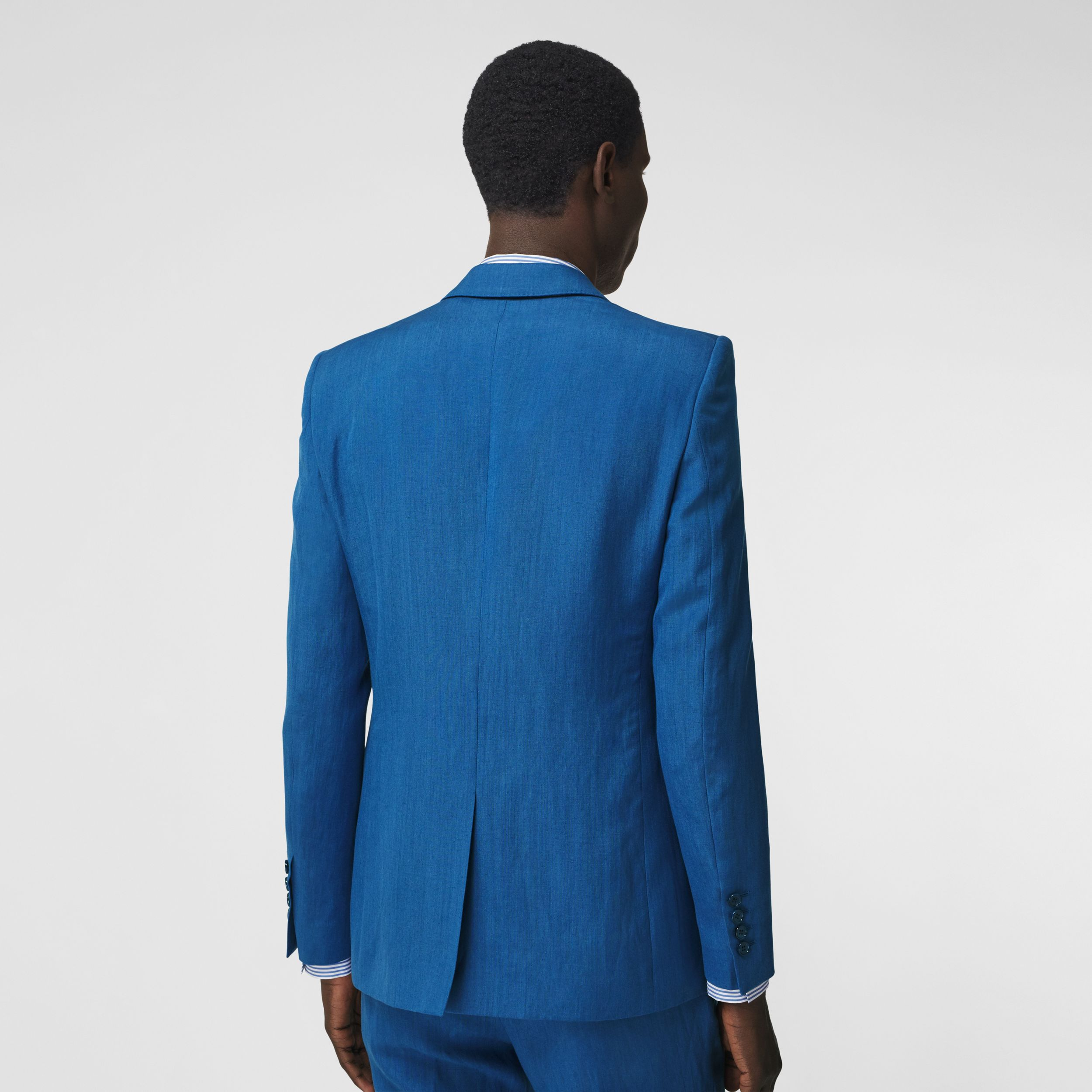 Classic Fit Linen Mohair Silk Tailored Jacket in Dark Cerulean Blue - Men | Burberry Hong Kong S.A.R. - 3