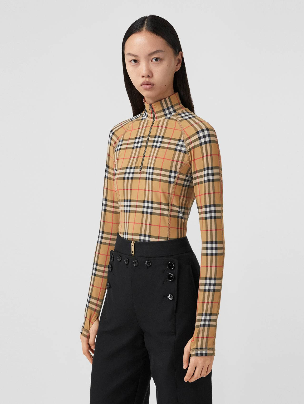 Vintage Check Stretch Jersey Turtleneck Top in Archive Beige