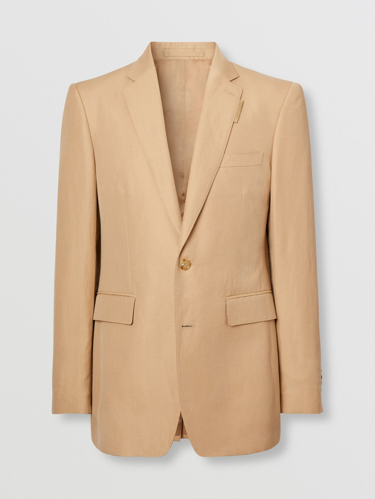Classic Fit Wool Linen Tailored Jacket in Honey