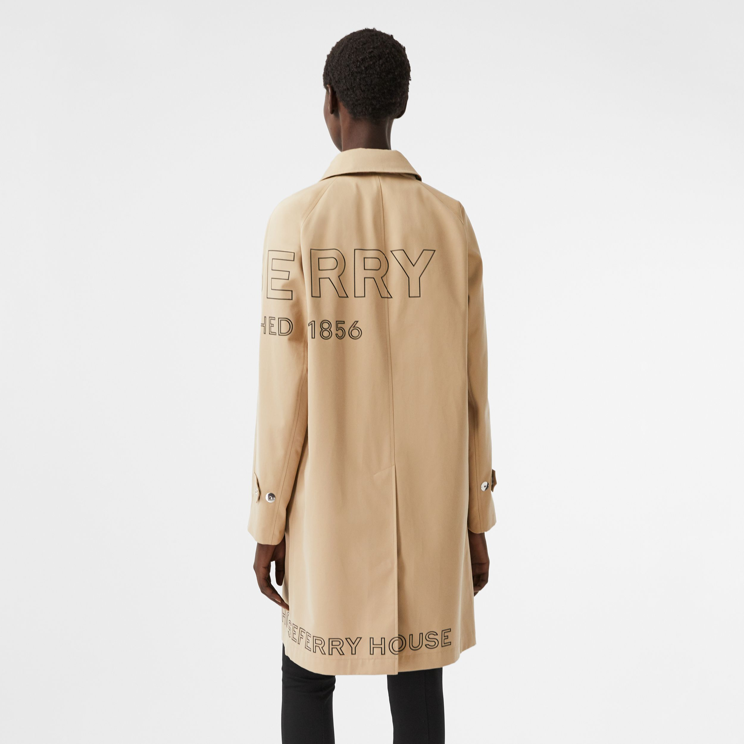 Horseferry Print Cotton Gabardine Car Coat in Honey - Women | Burberry United States - 3