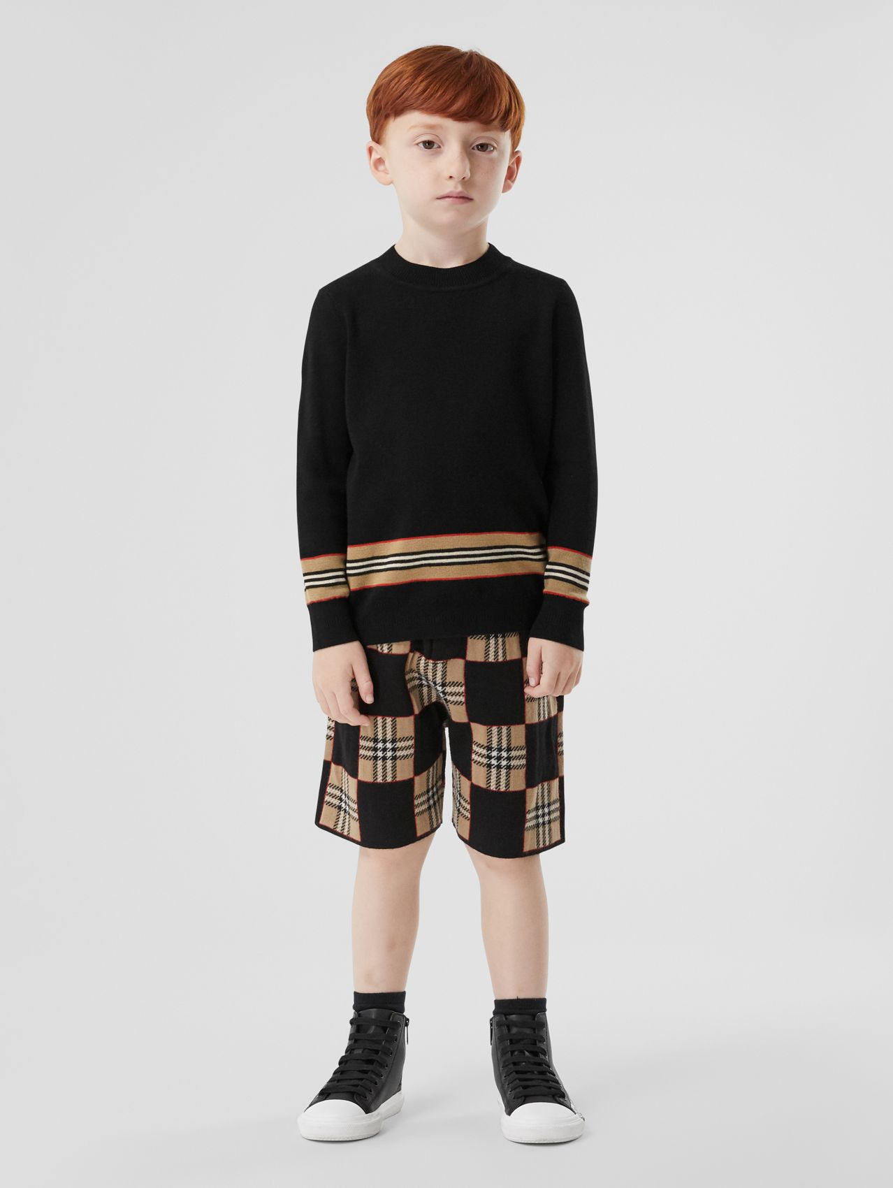 Icon Stripe Panel Wool Sweater in Black