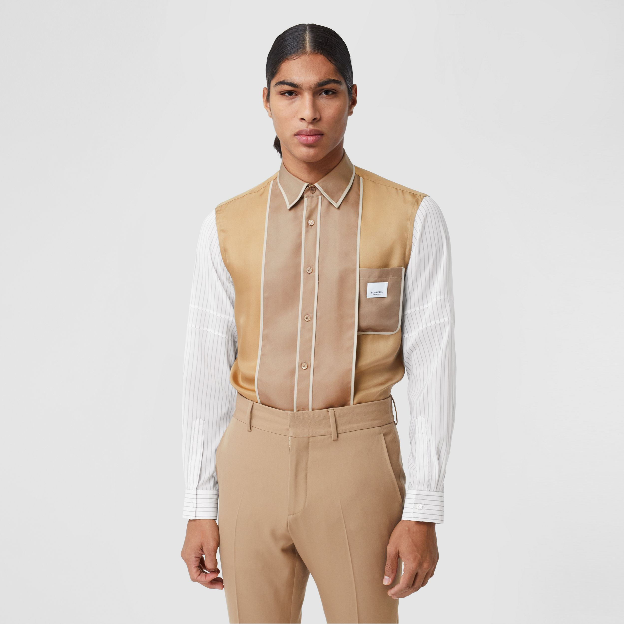 Classic Fit Panelled Silk and Pinstriped Shirt in Camel | Burberry - 1