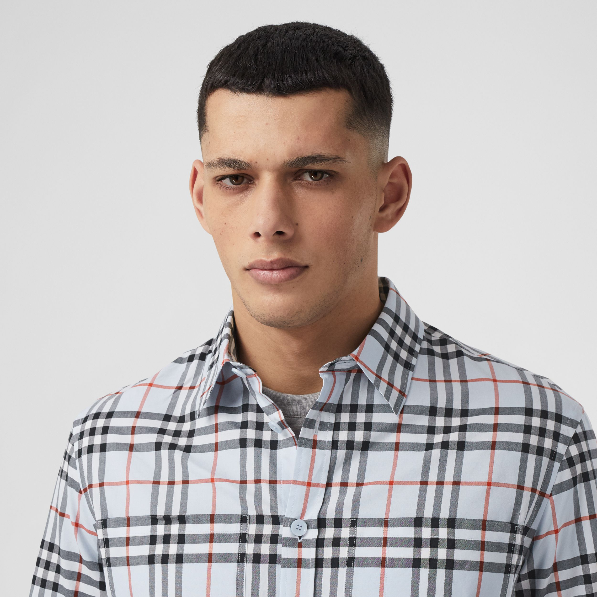 Logo Print Vintage Check Cotton Oversized Shirt – Online Exclusive in Pale Blue - Men | Burberry United Kingdom - 2