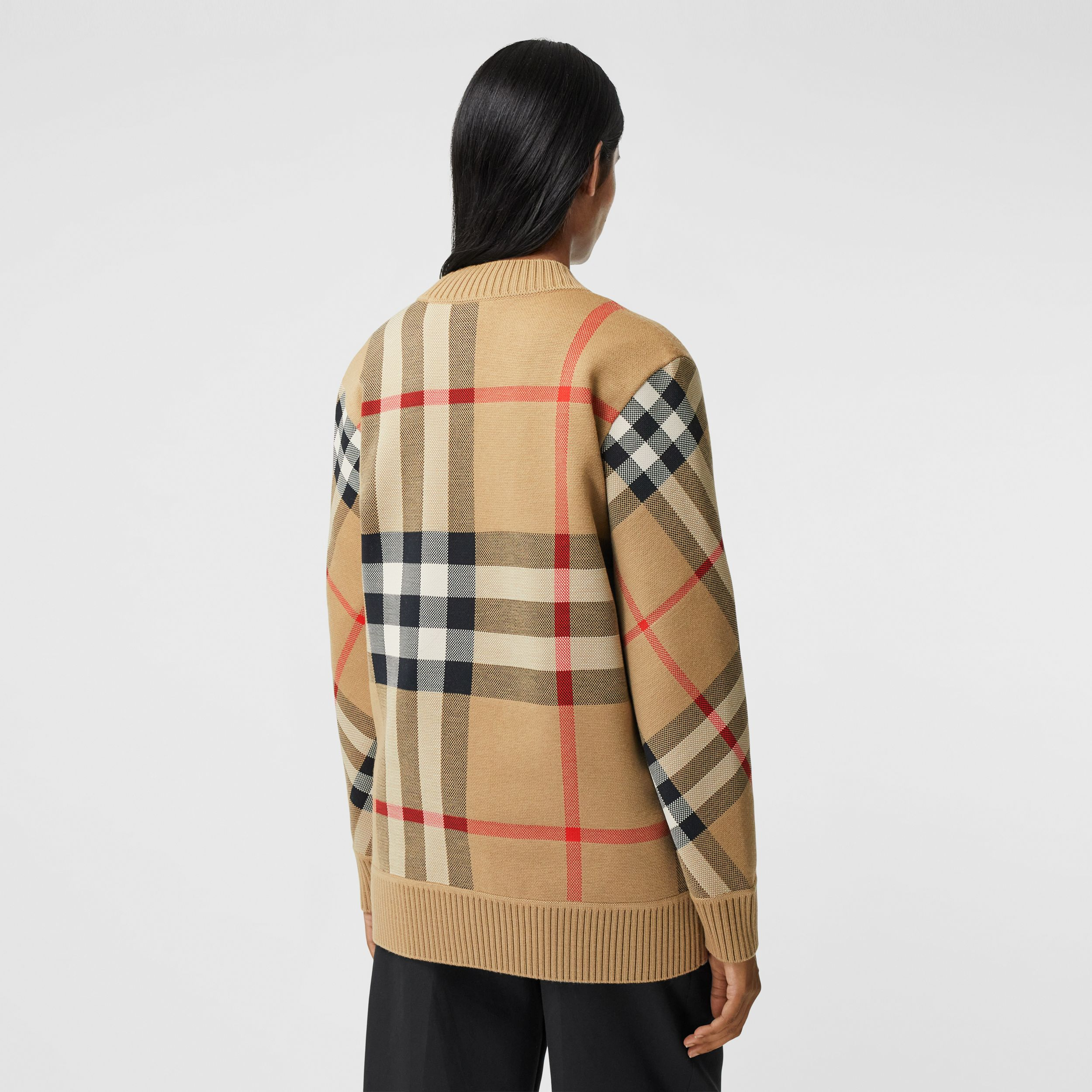 Check Technical Merino Wool Jacquard Cardigan in Archive Beige - Women | Burberry - 3