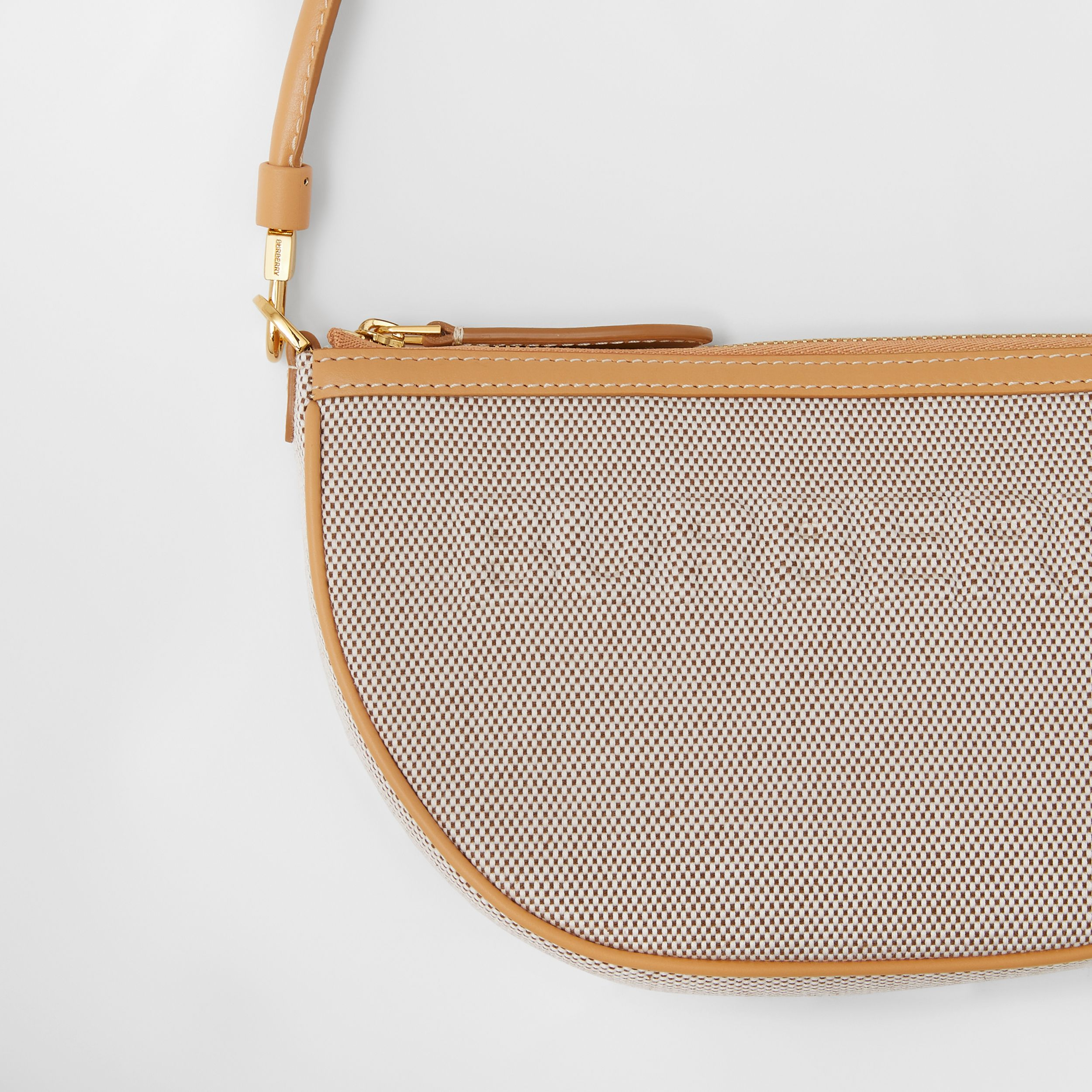 Embossed Logo Canvas and Leather Olympia Pouch in Soft Fawn/warm Sand - Women | Burberry - 2