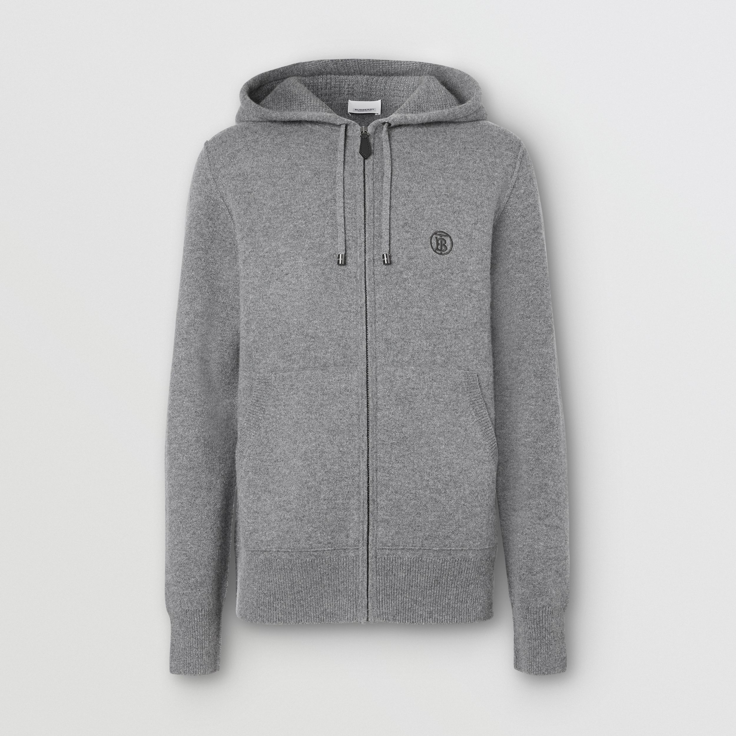 Monogram Motif Cashmere Blend Hooded Top in Mid Grey Melange - Men | Burberry Hong Kong S.A.R. - 4