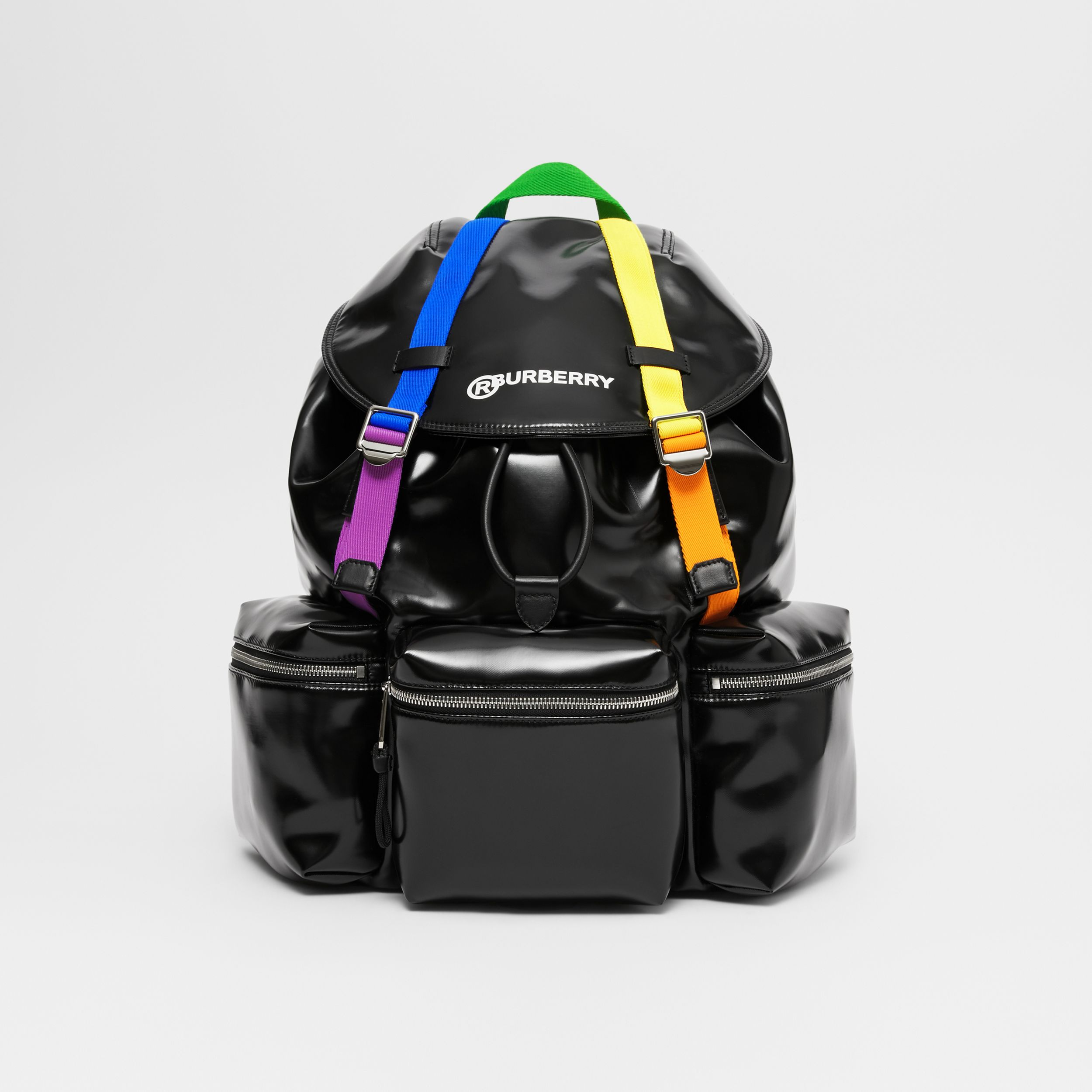 Rainbow Strap Coated Canvas Backpack in Black/multicolour | Burberry Australia - 1