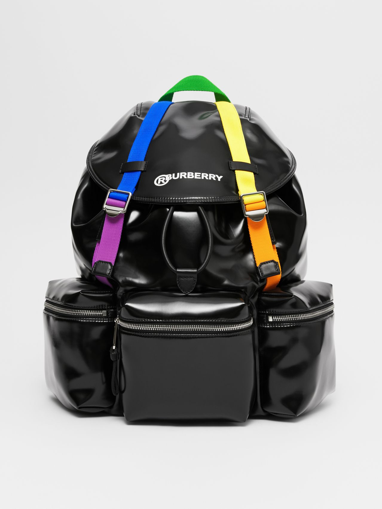 Rainbow Strap Coated Canvas Backpack in Black/multicolour