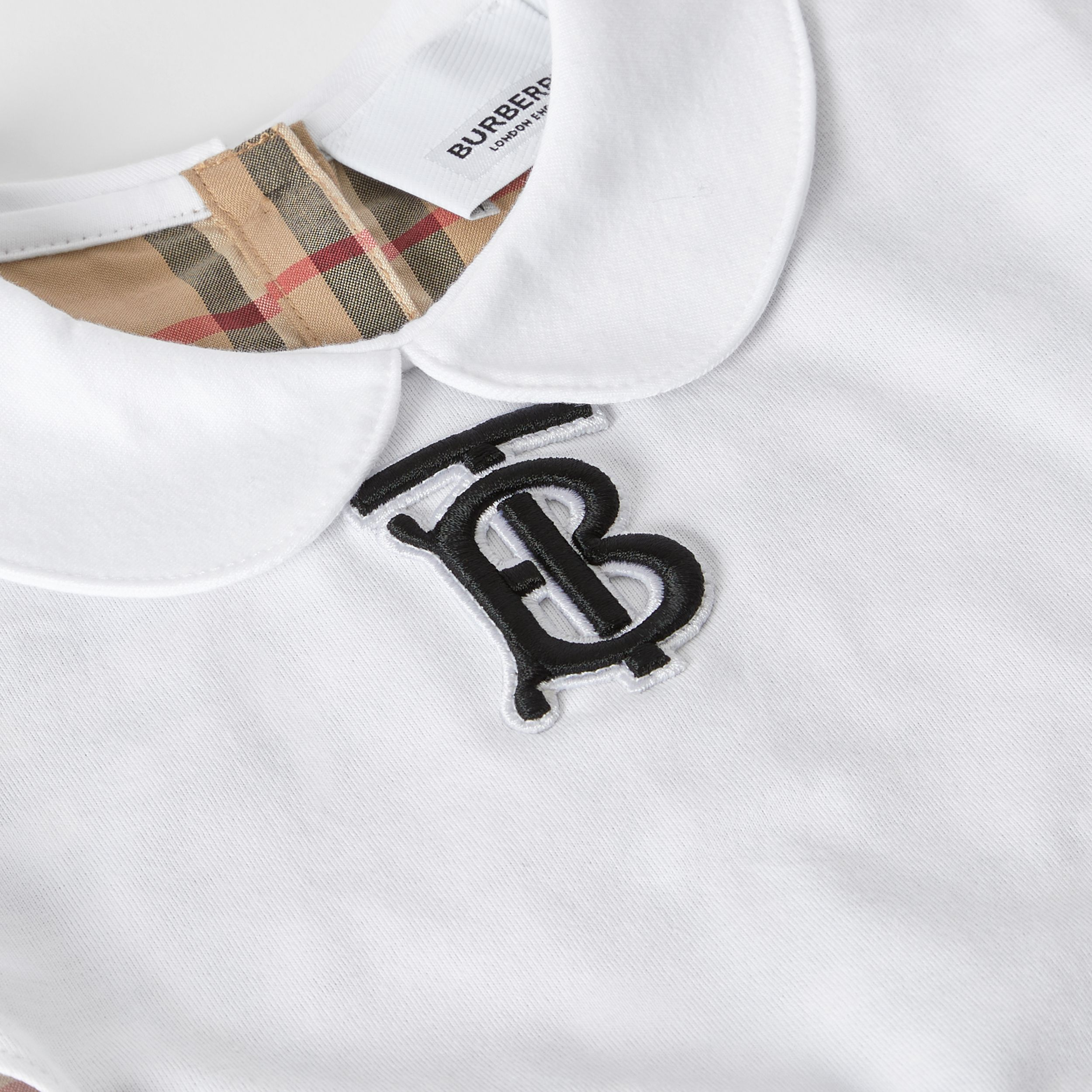 Peter Pan Collar Vintage Check Panel Cotton T-Shirt in Archive Beige - Children | Burberry United Kingdom - 2