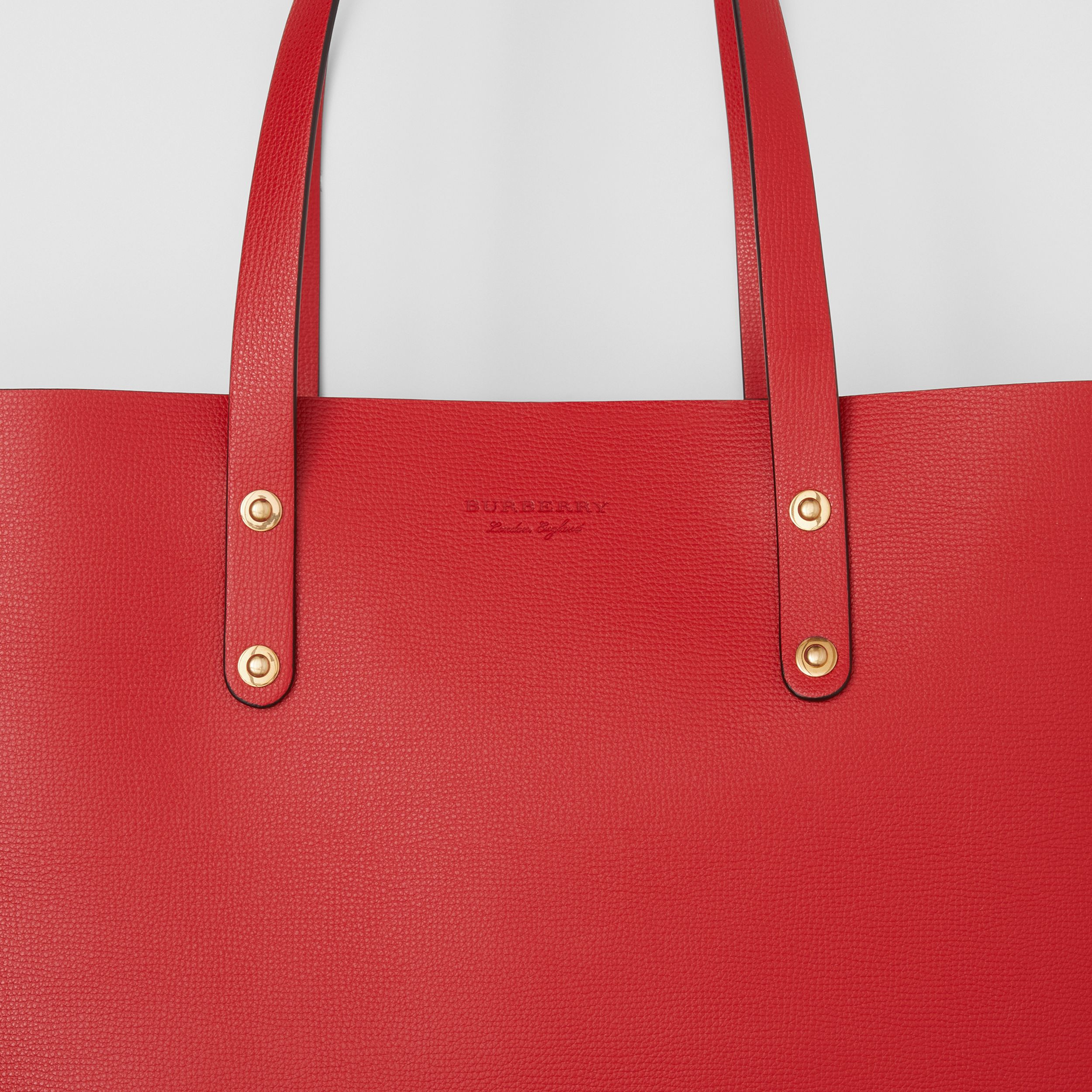 Large Grainy Leather Tote Bag in Rust Red - Women | Burberry - 2