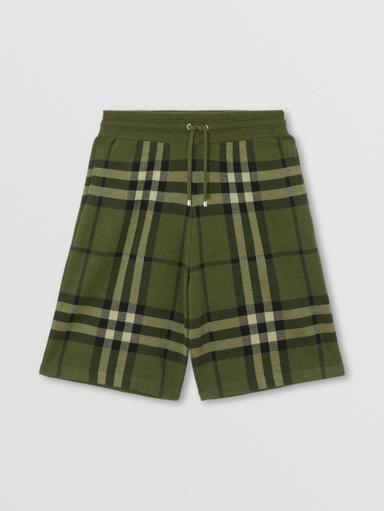 Check Silk Wool Jacquard Shorts in Dark Forest Green