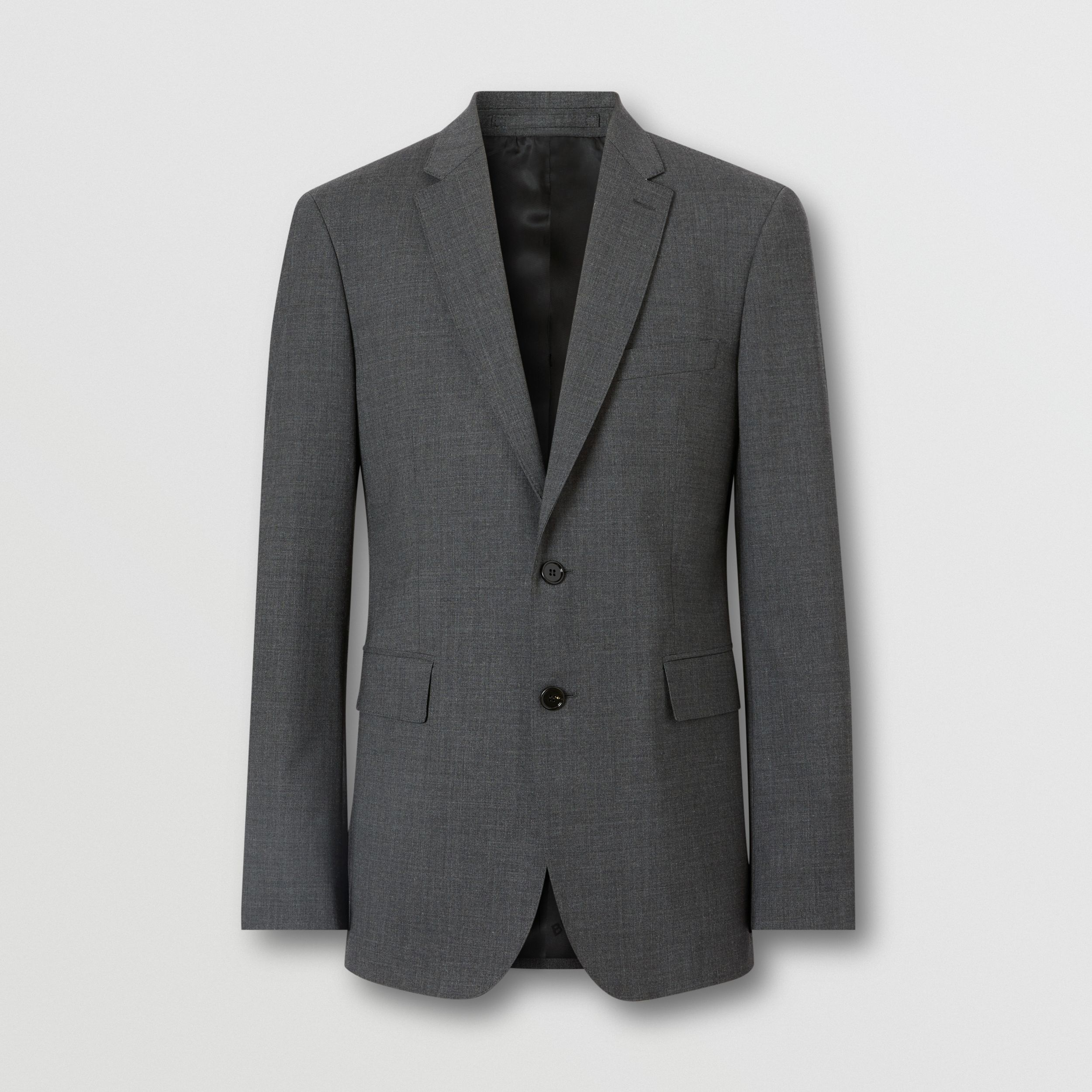 Slim Fit Stretch Wool Suit in Cloud Grey Melange - Men | Burberry - 4