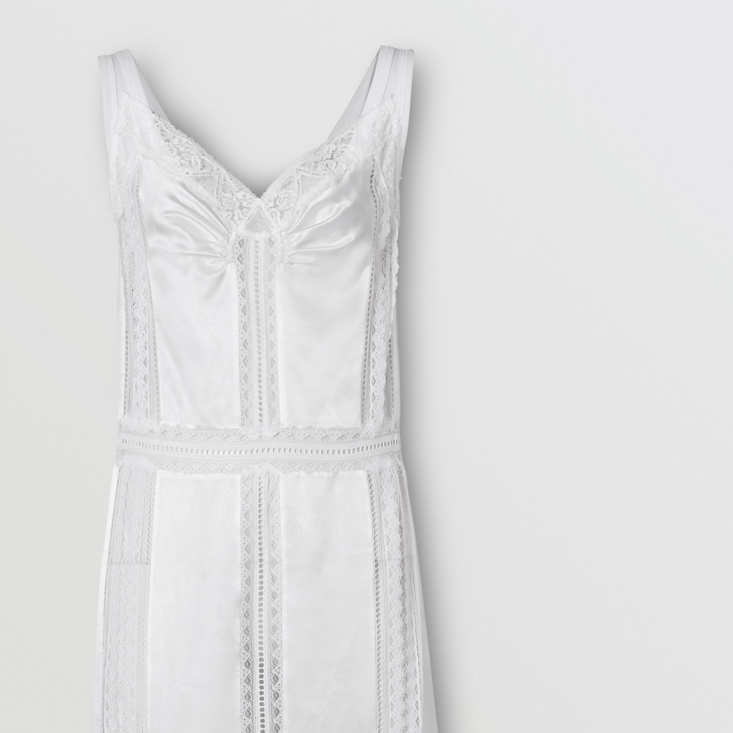 Chantilly Lace and Silk Satin Slip Dress in Optic White - Women | Burberry - 4