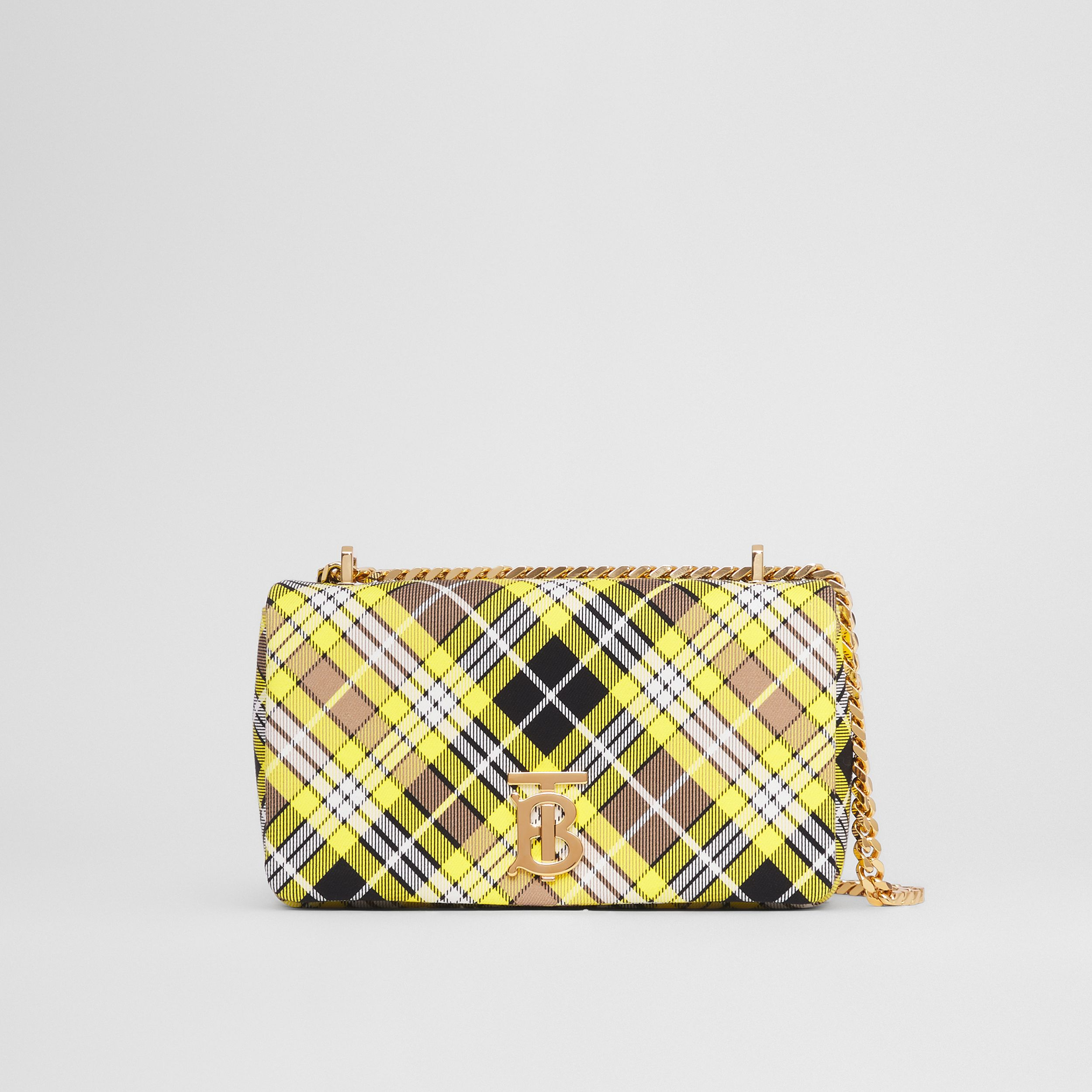Small Tartan Cotton Lola Bag in Marigold Yellow - Women | Burberry - 1