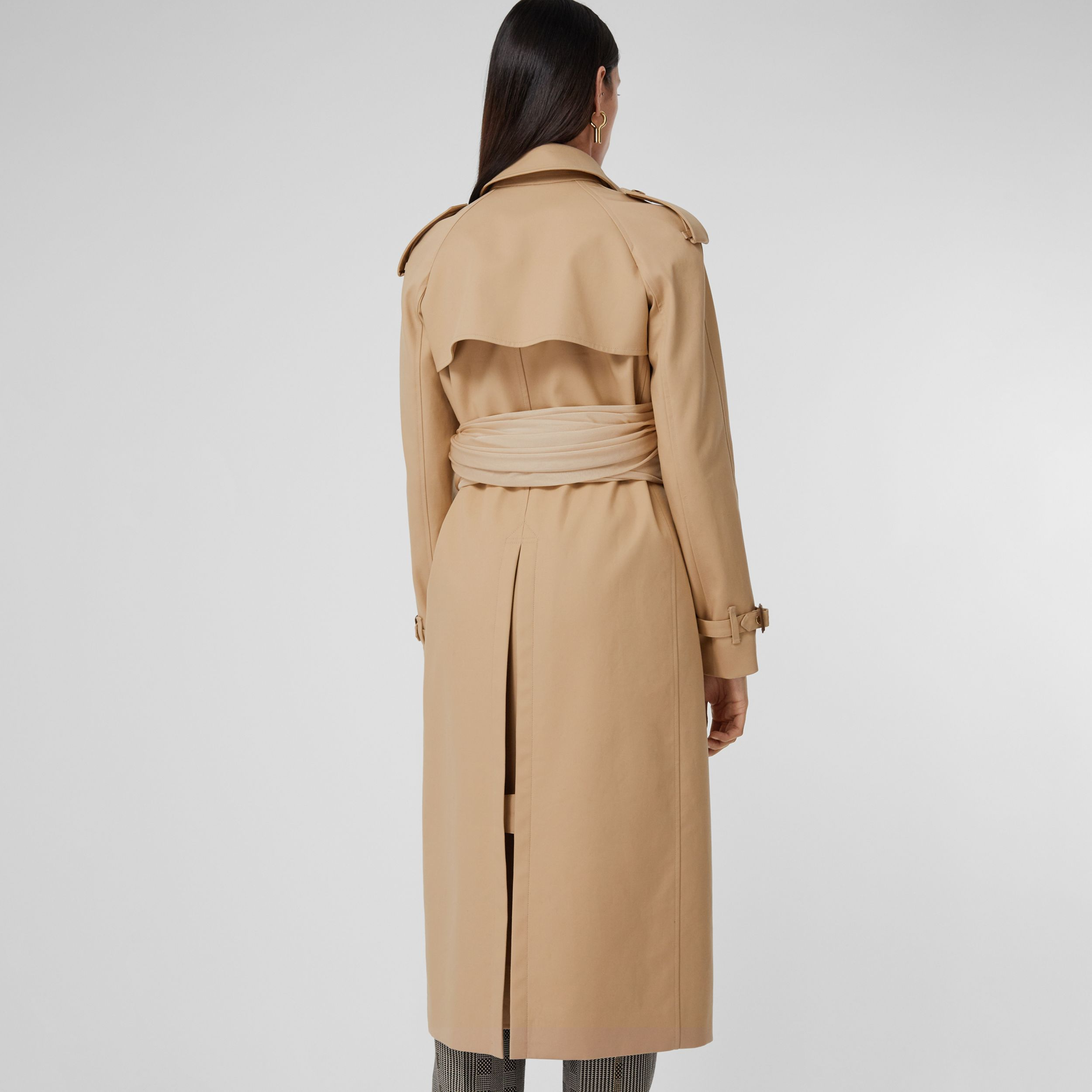 Jersey Sash Detail Cotton Gabardine Trench Coat in Soft Fawn - Women | Burberry United Kingdom - 3