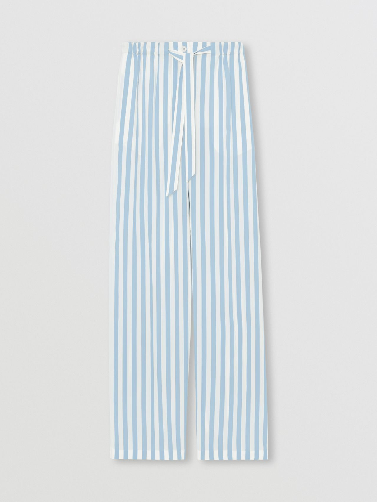 Striped Silk Wide-leg Trousers in Vivid Cobalt