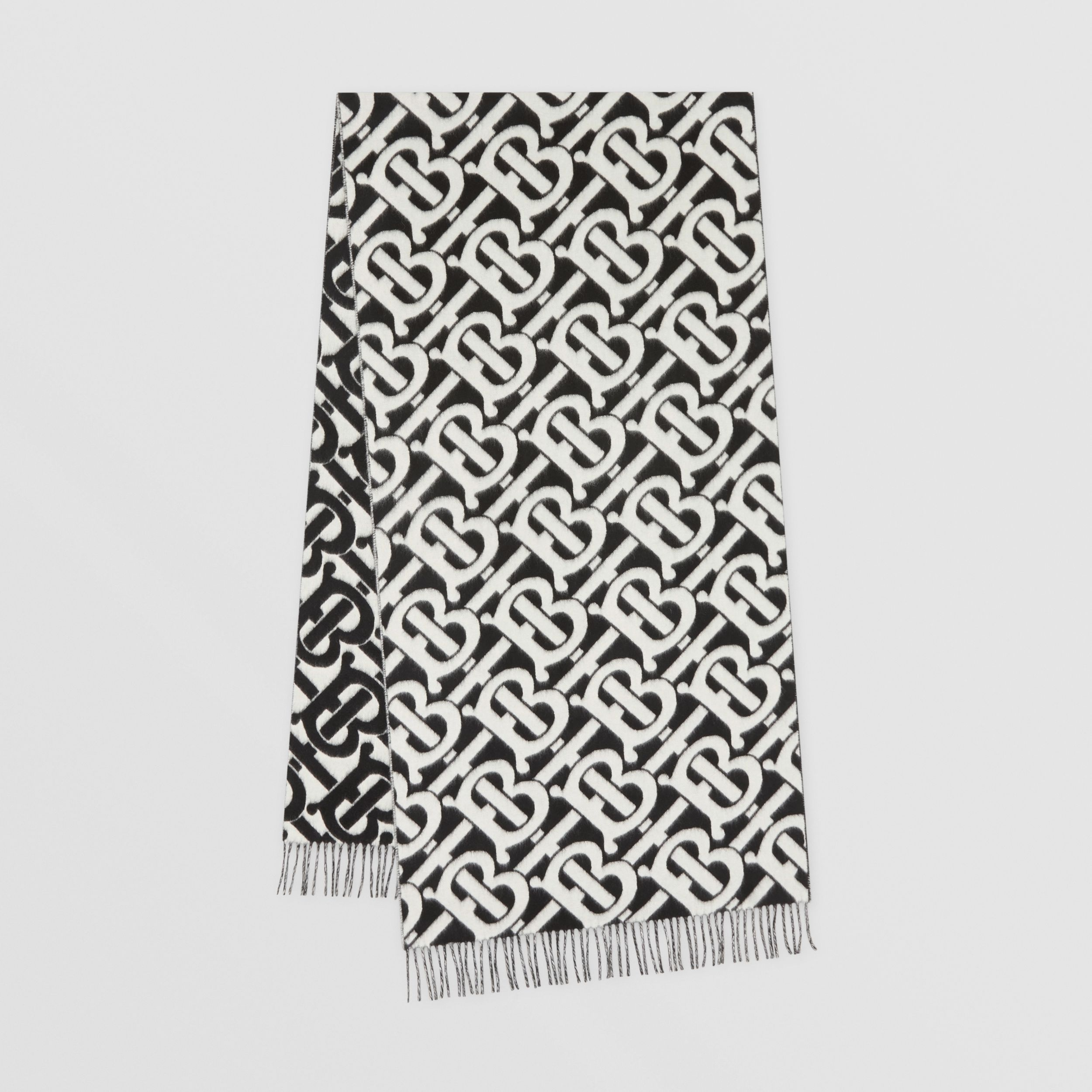 Monogram Cashmere Jacquard Scarf in Black/white | Burberry United Kingdom - 1