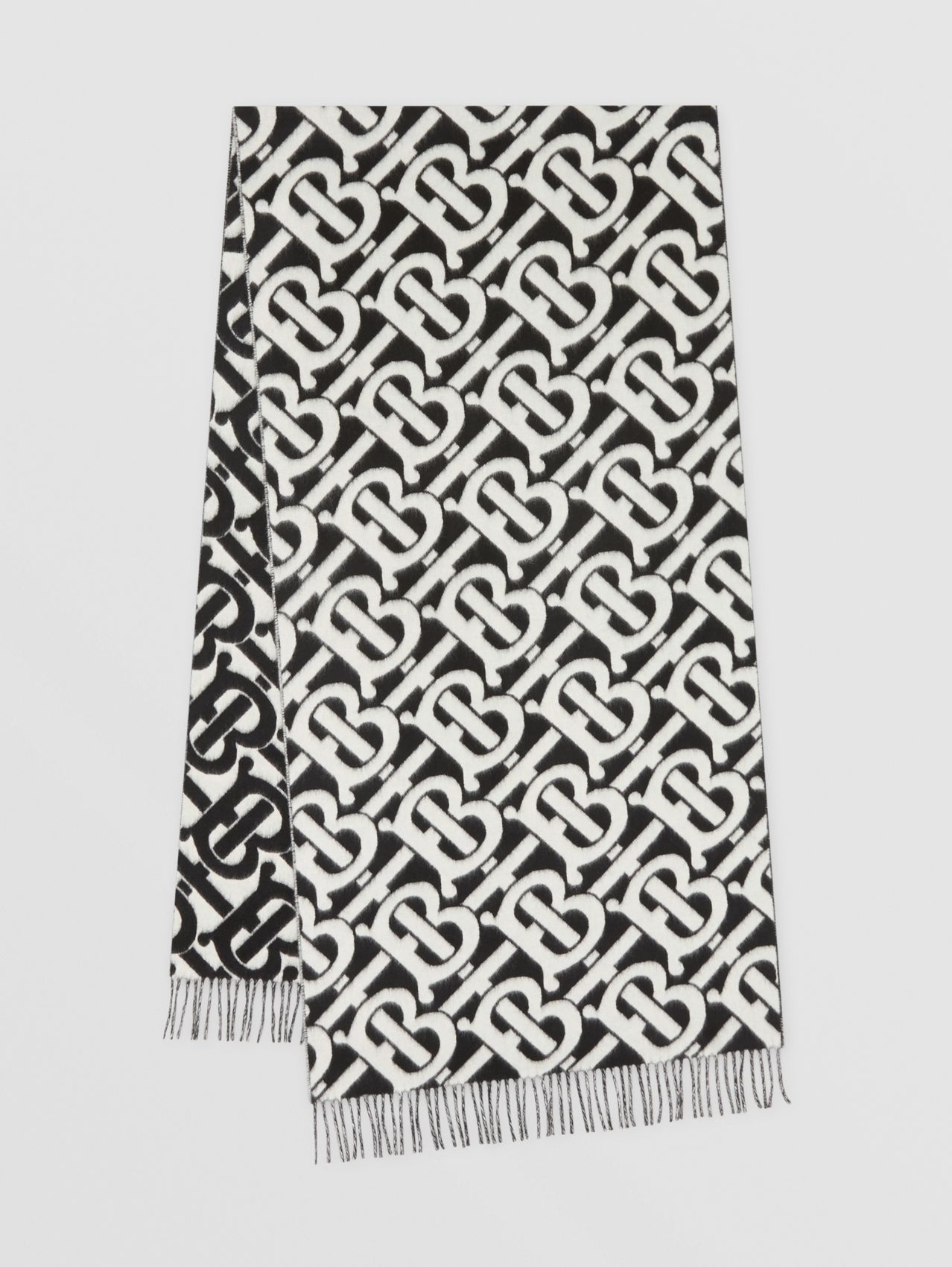 Monogram Cashmere Jacquard Scarf in Black/white