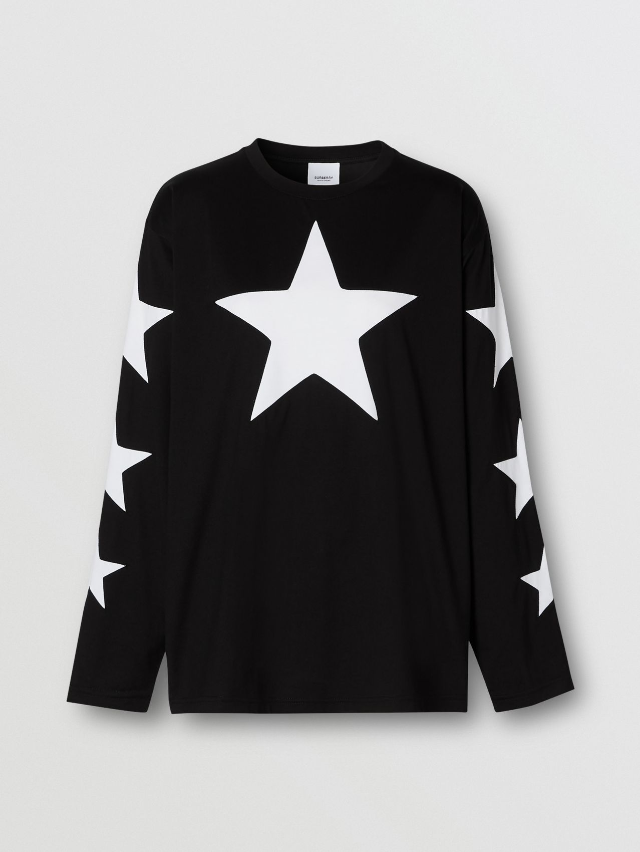 Long-sleeve Star Motif Cotton Oversized Top in Black