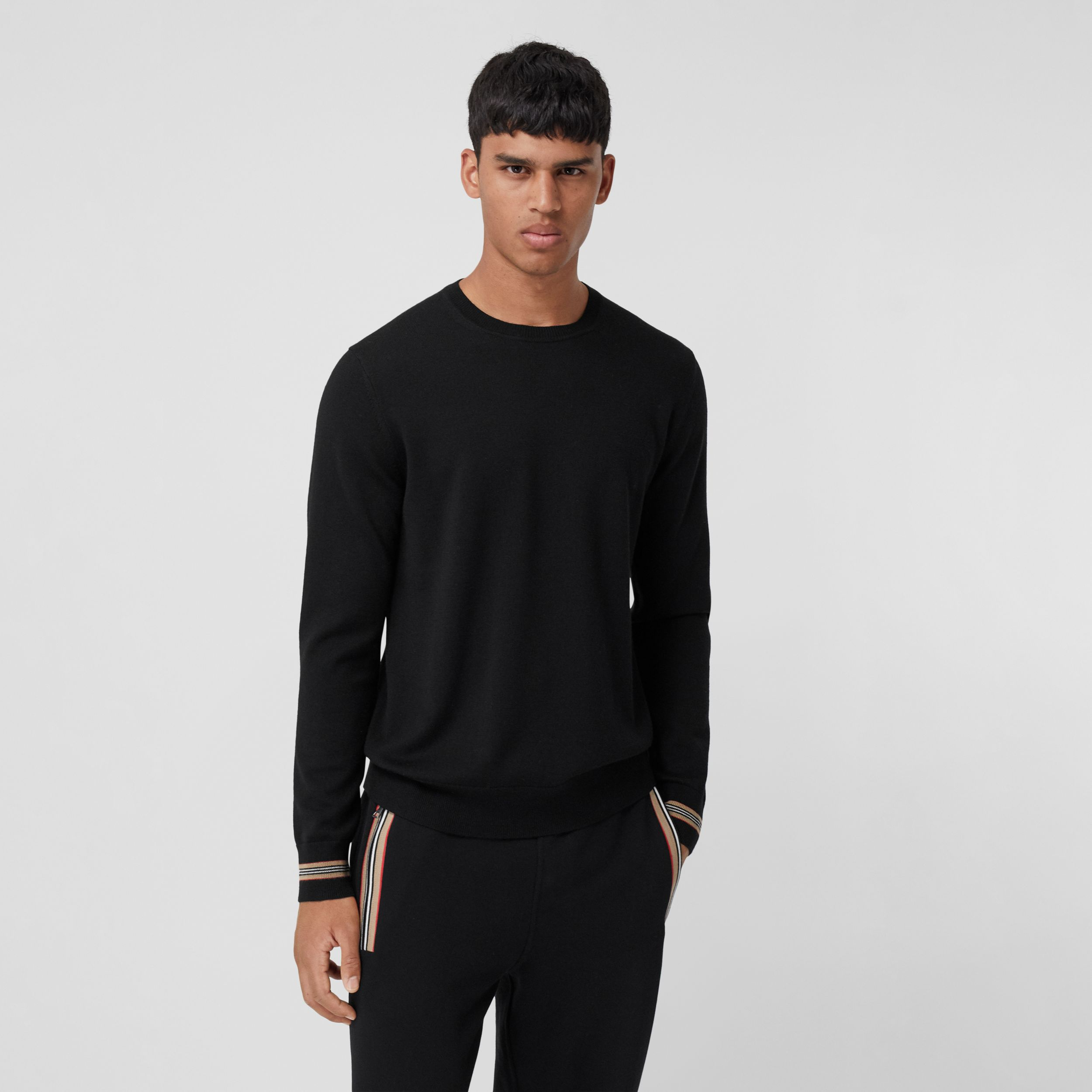 Icon Stripe Trim Merino Wool Sweater in Black - Men | Burberry - 1