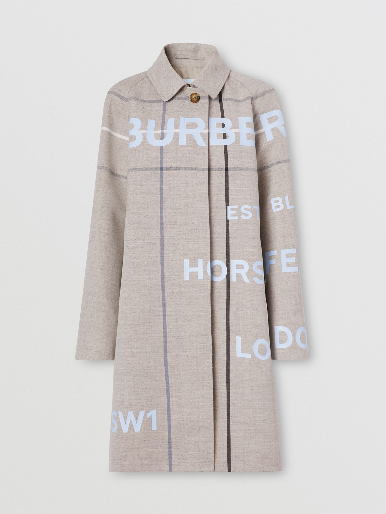 Horseferry Print Check Wool Blend Car Coat in Ecru