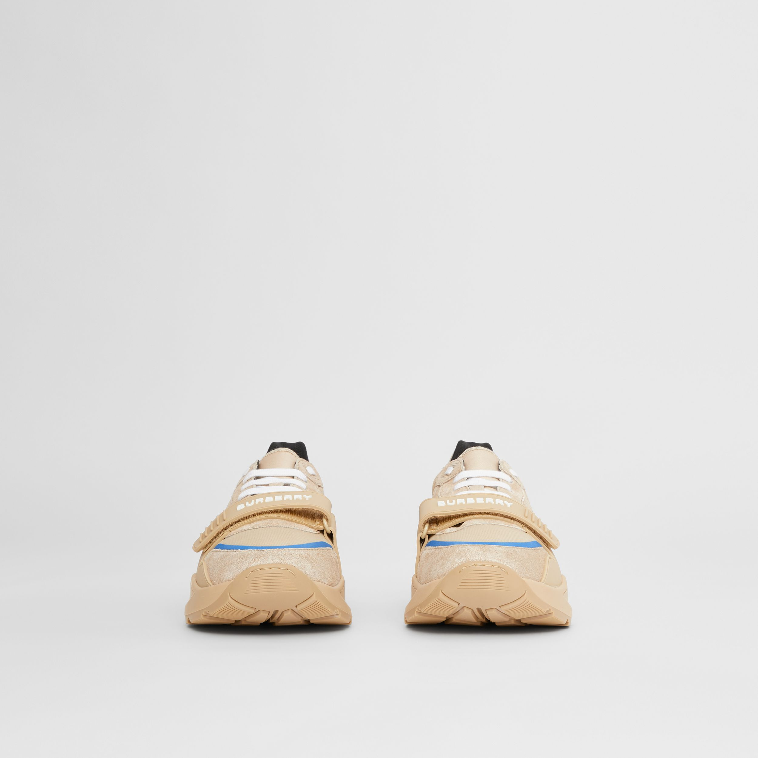 Suede, Leather and Mesh Sneakers in Beige - Men | Burberry - 4