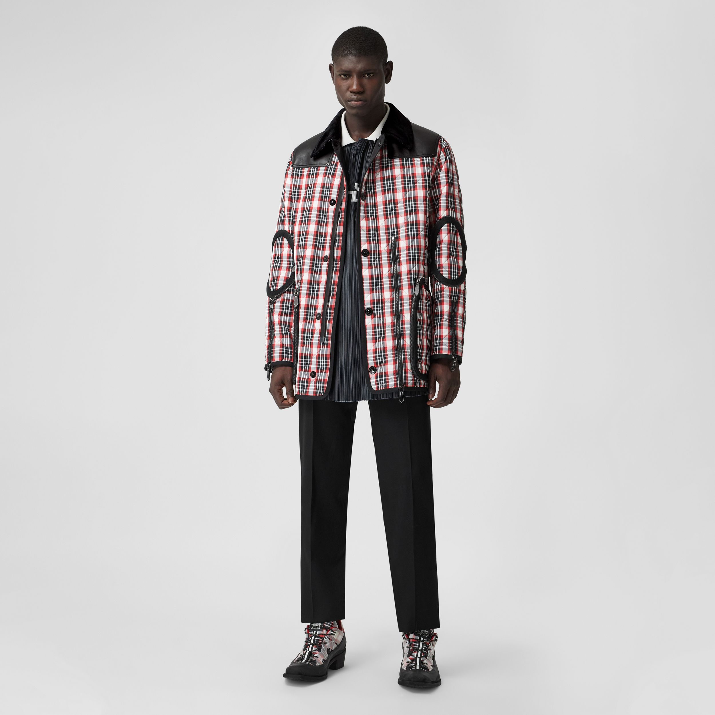 Lambskin Panel Diamond Quilted Tartan Barn Jacket in Bright Red | Burberry - 1