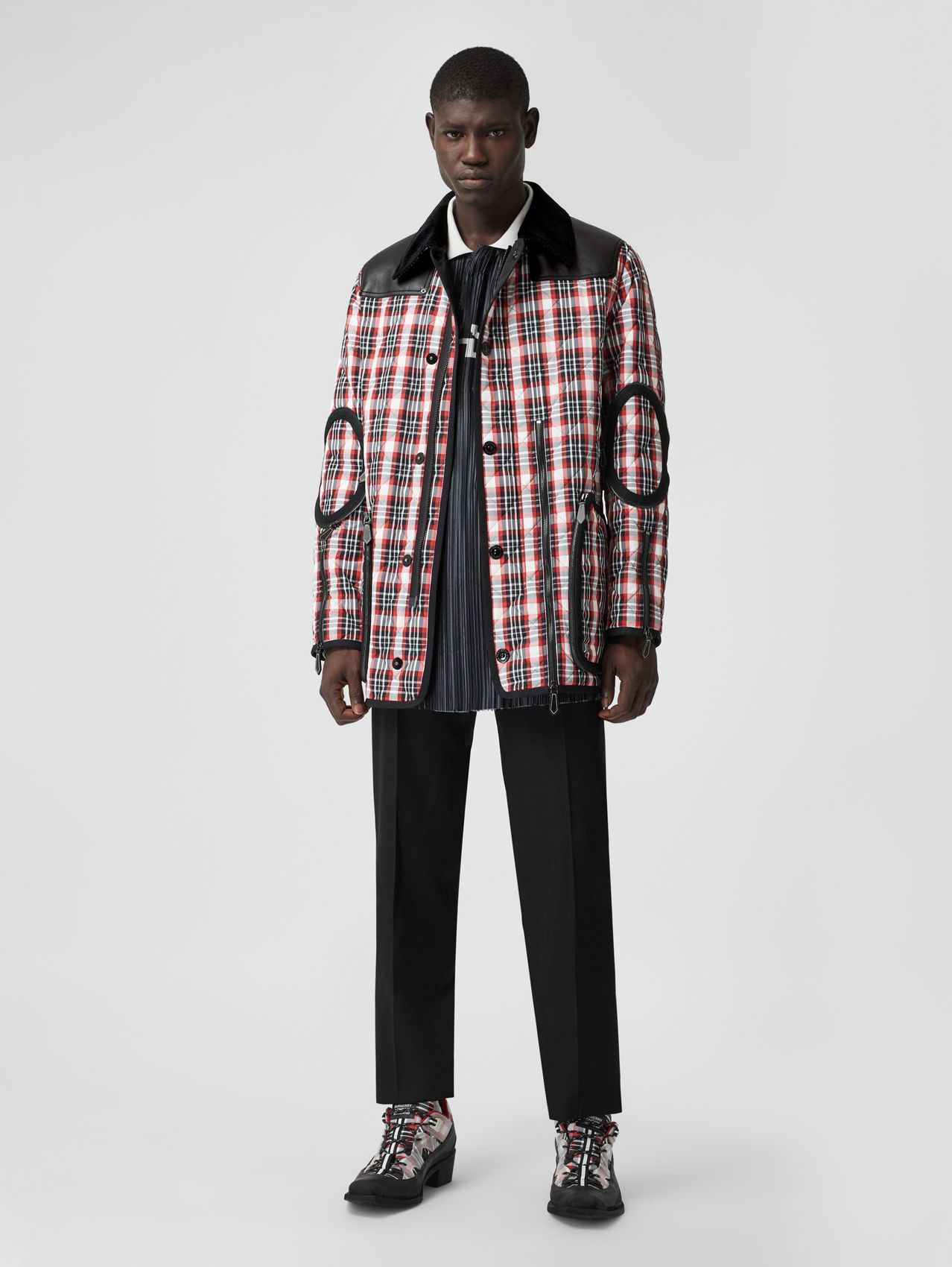 Lambskin Panel Diamond Quilted Tartan Barn Jacket in Bright Red