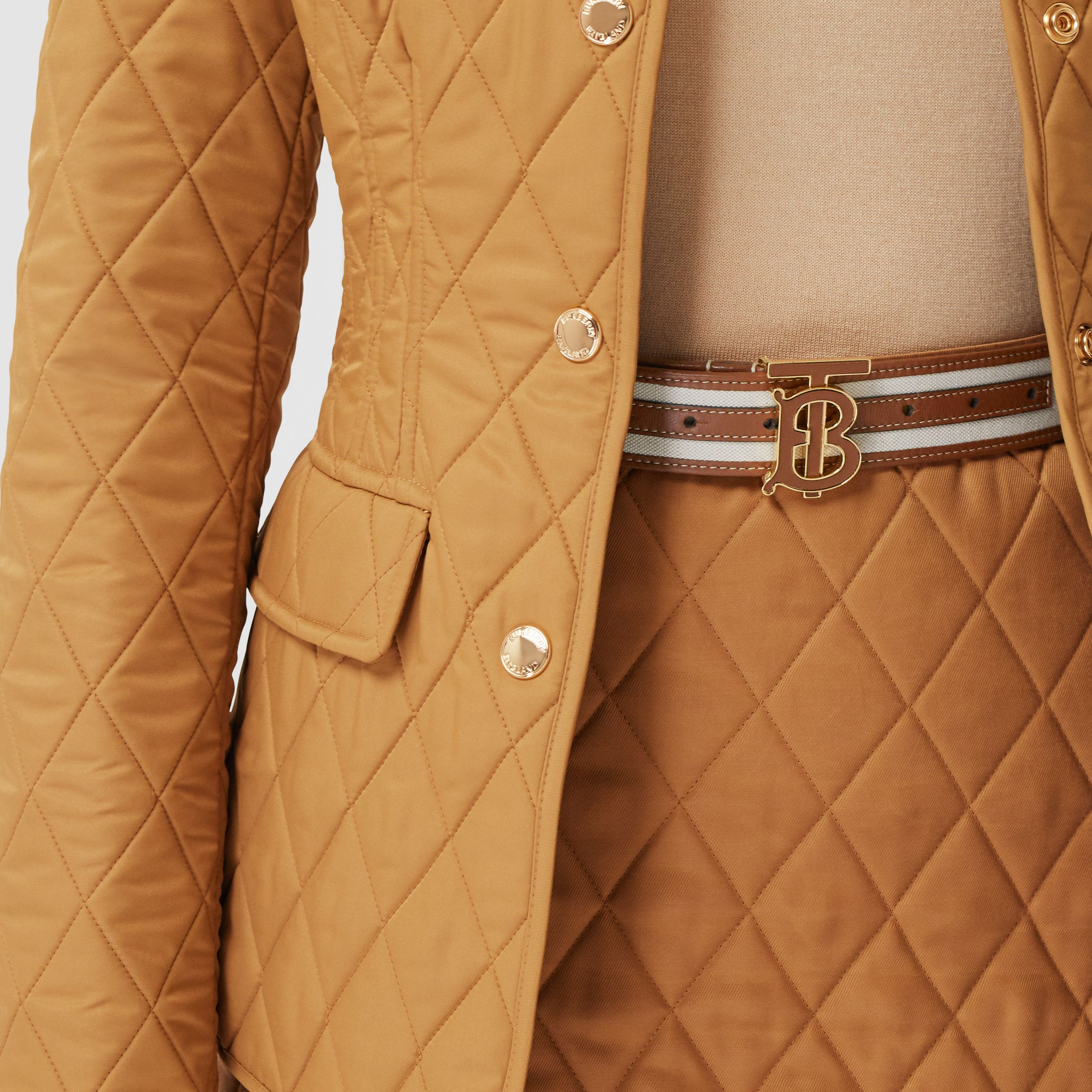 Monogram Motif Canvas and Leather Belt in Natural - Women | Burberry - 3