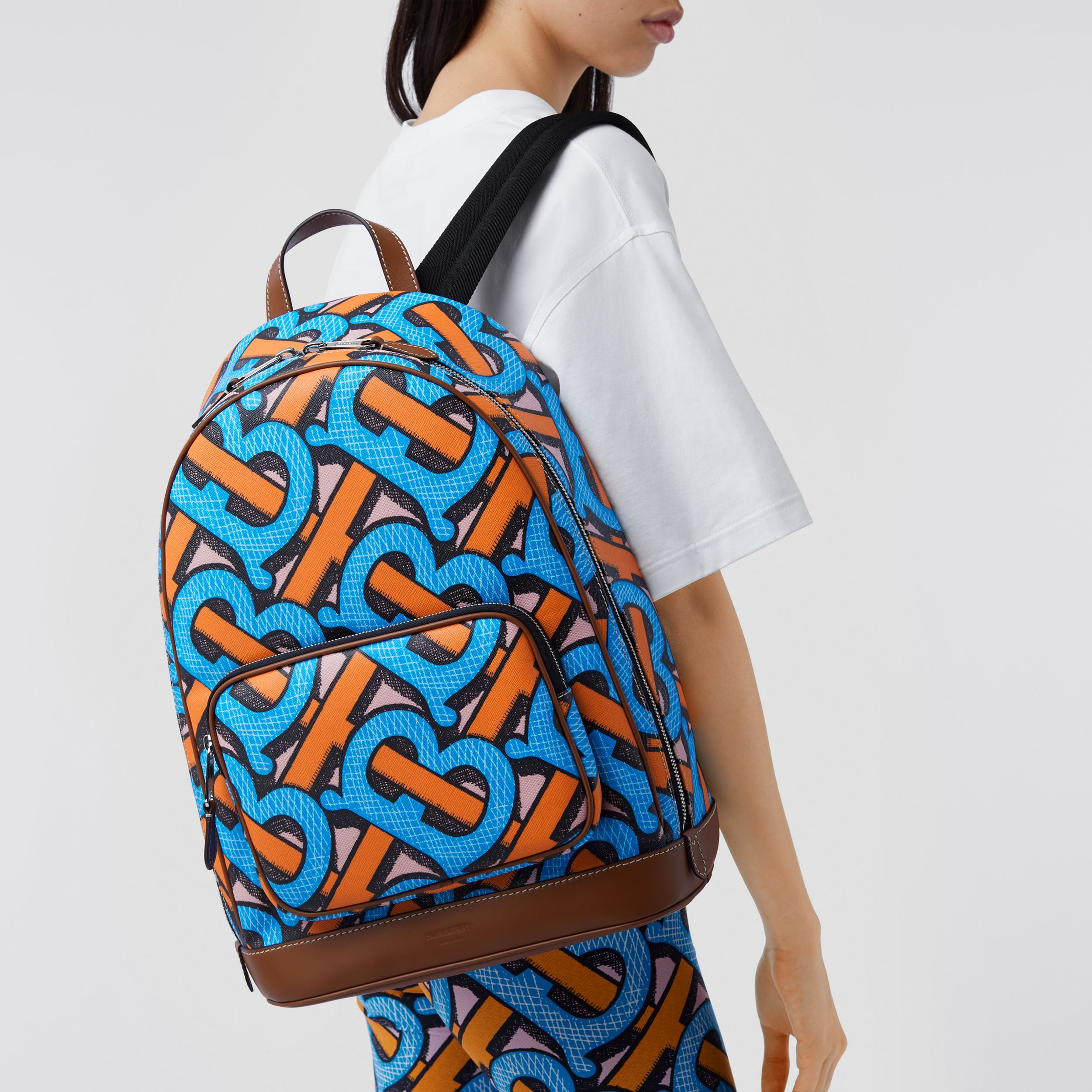 Monogram Print E-canvas Backpack in Bright Cobalt | Burberry - 3