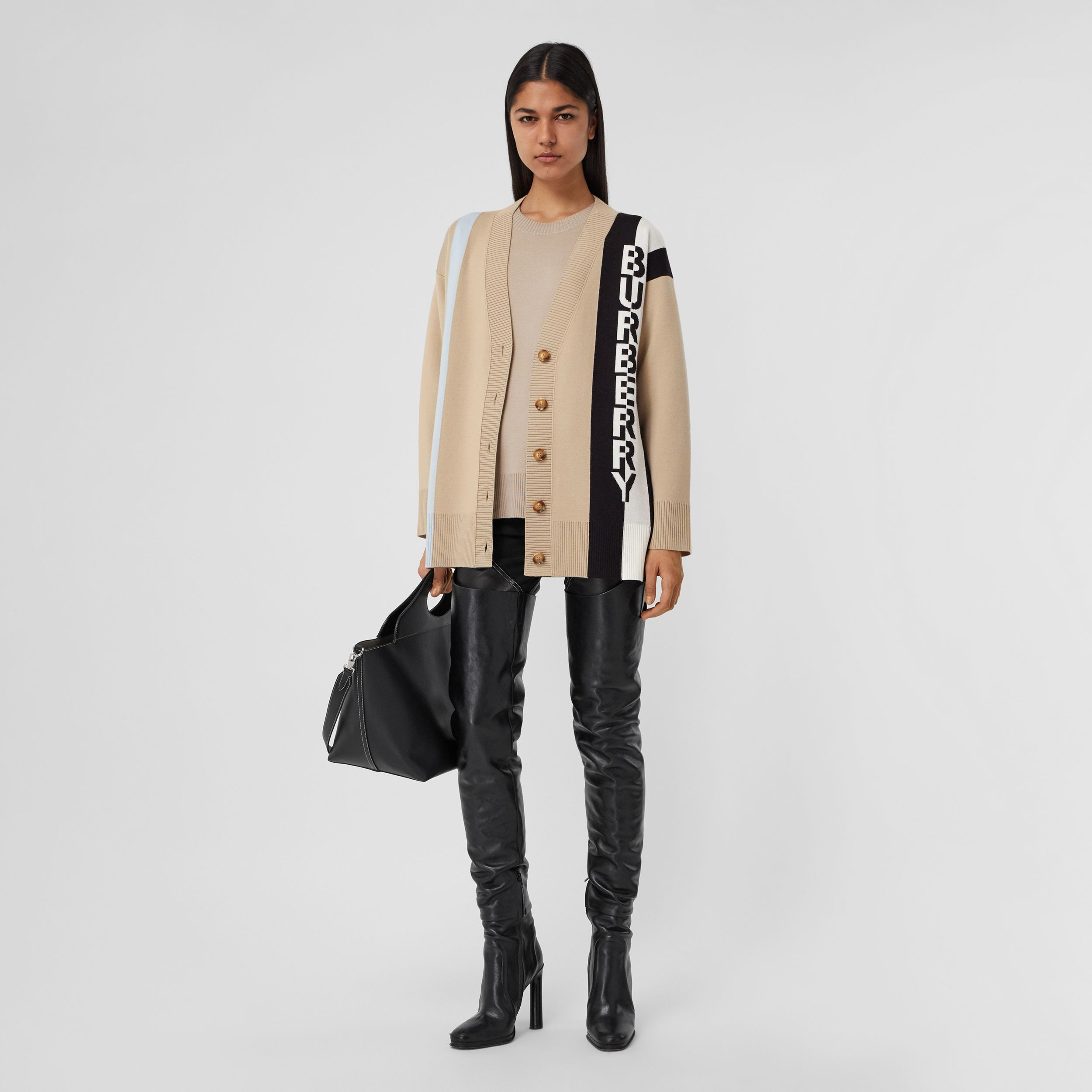 Logo Merino Wool Blend Jacquard Cardigan in Soft Fawn - Women | Burberry - 1