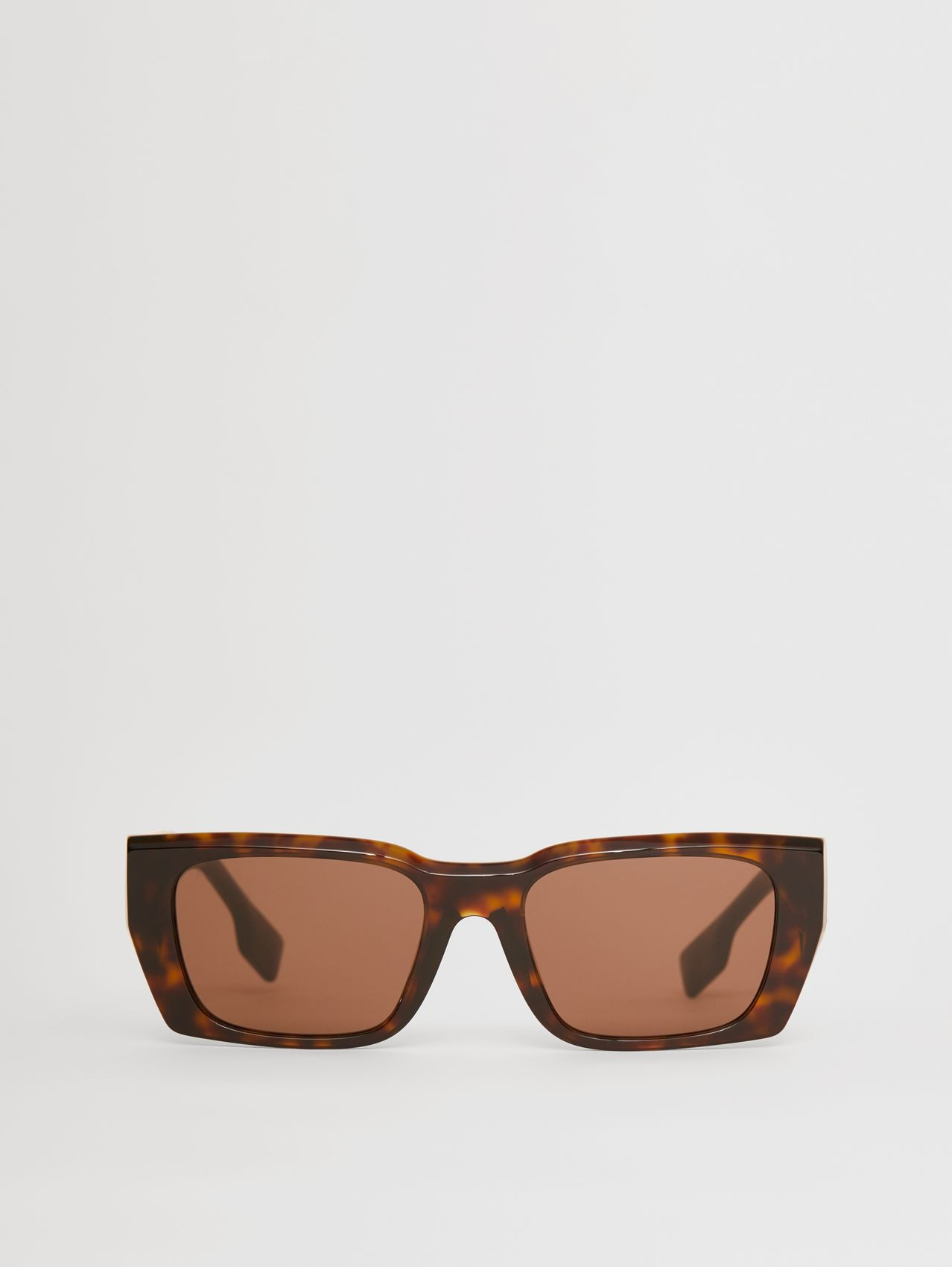 B Motif Bio-acetate Rectangular Frame Sunglasses in Tortoiseshell