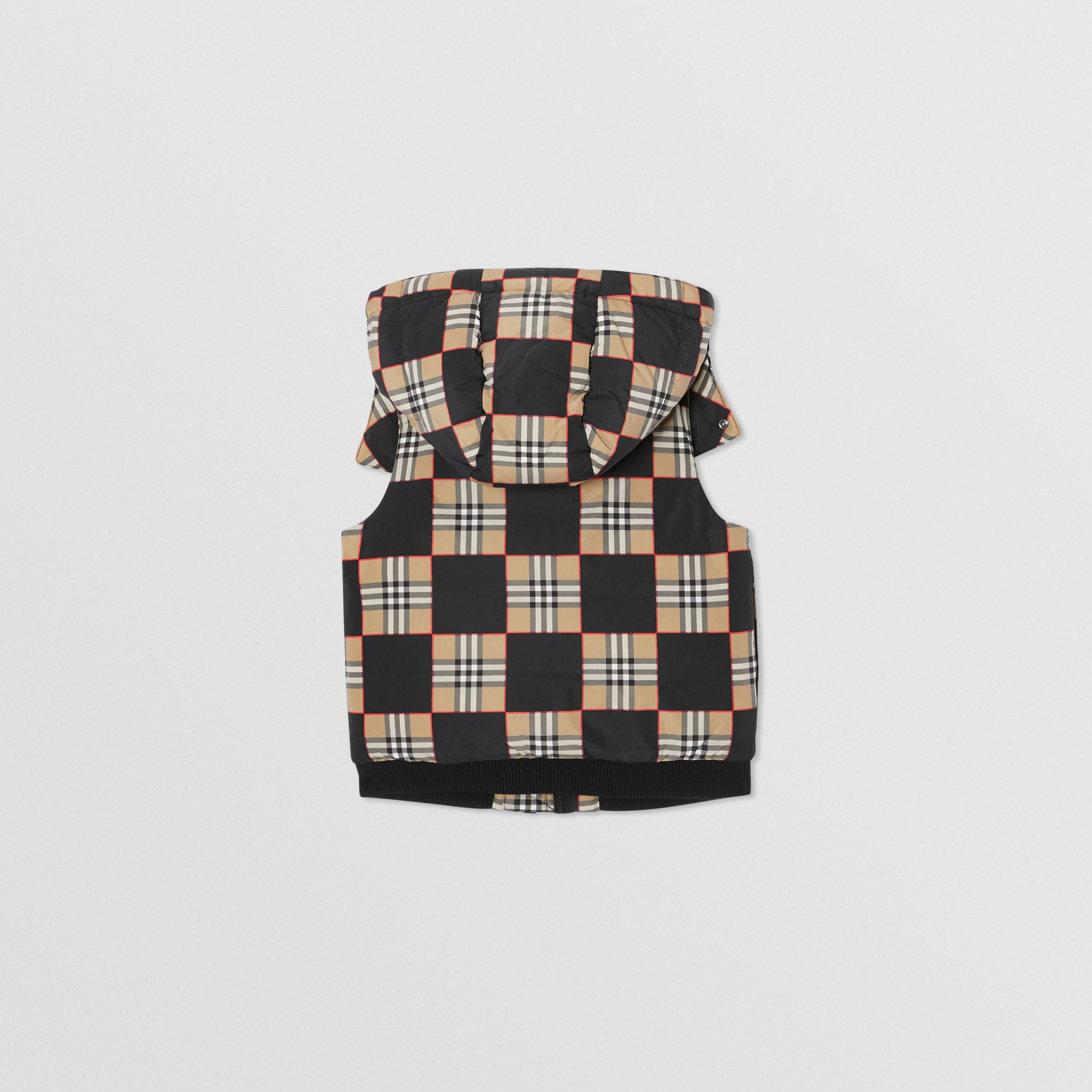 Chequer Print Puffer Gilet in Archive Beige | Burberry - 4