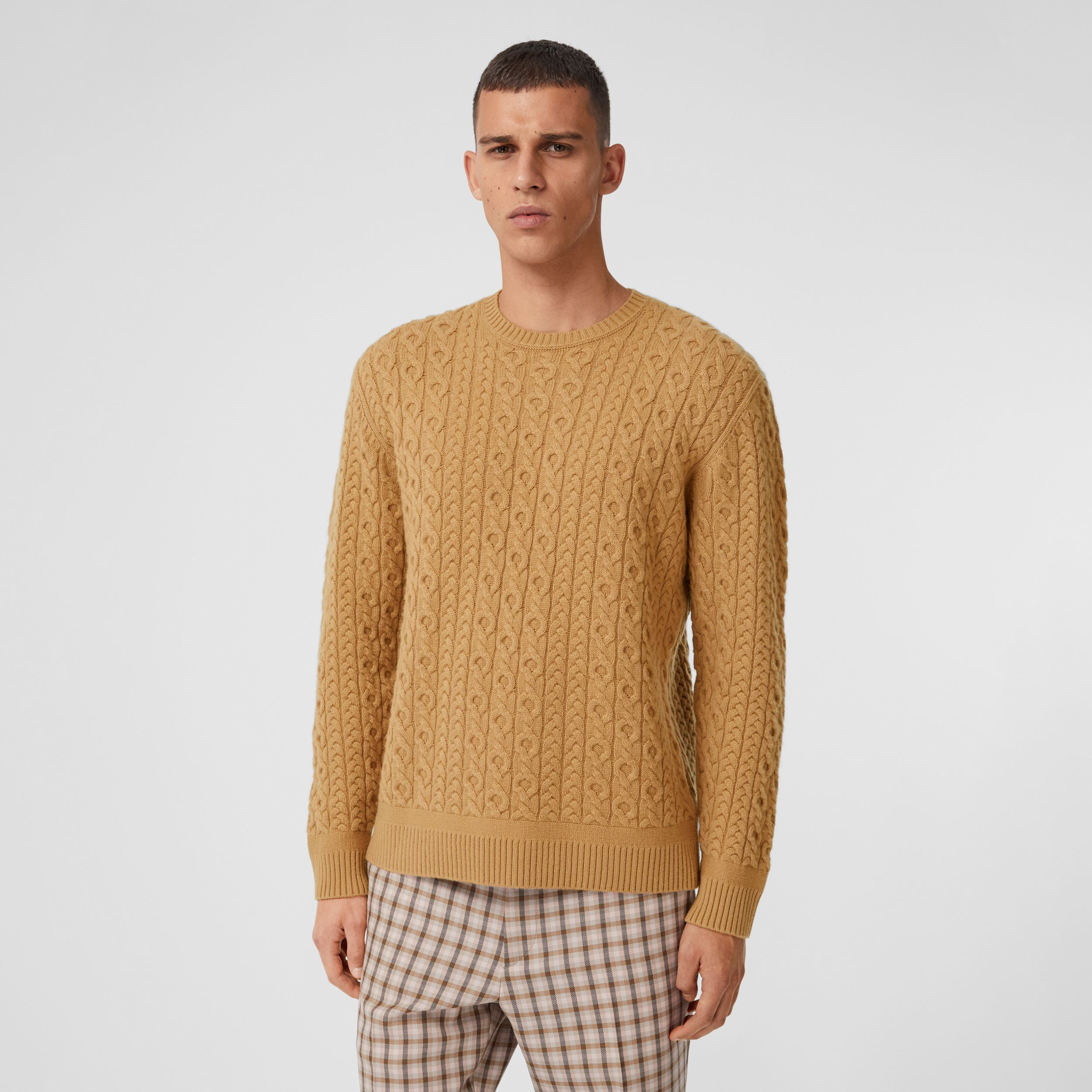 Cable Knit Wool Cashmere Sweater in Camel - Men | Burberry - 1