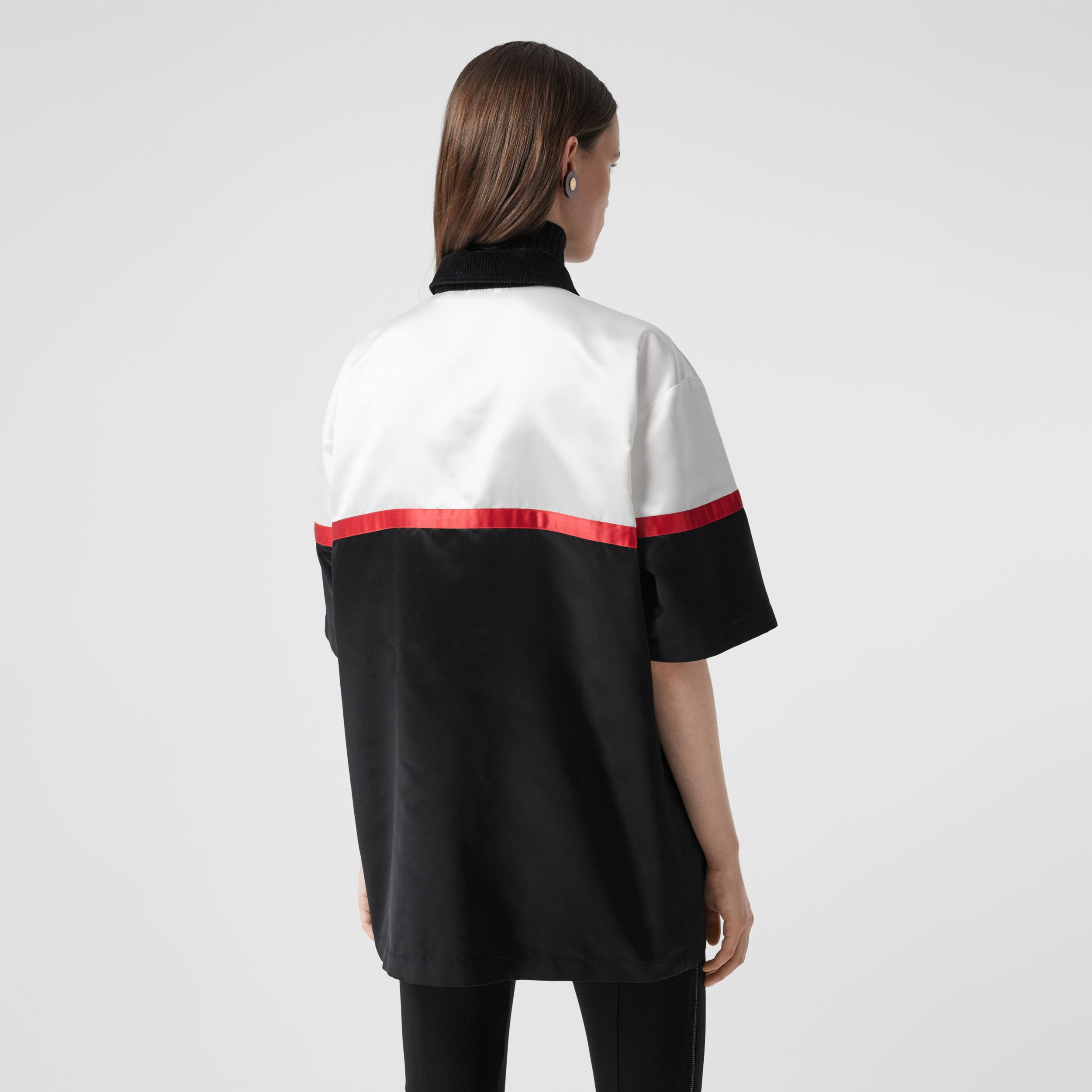 Colour Block Silk Satin Oversized Bowling Shirt in Optic White - Women | Burberry Canada - 3