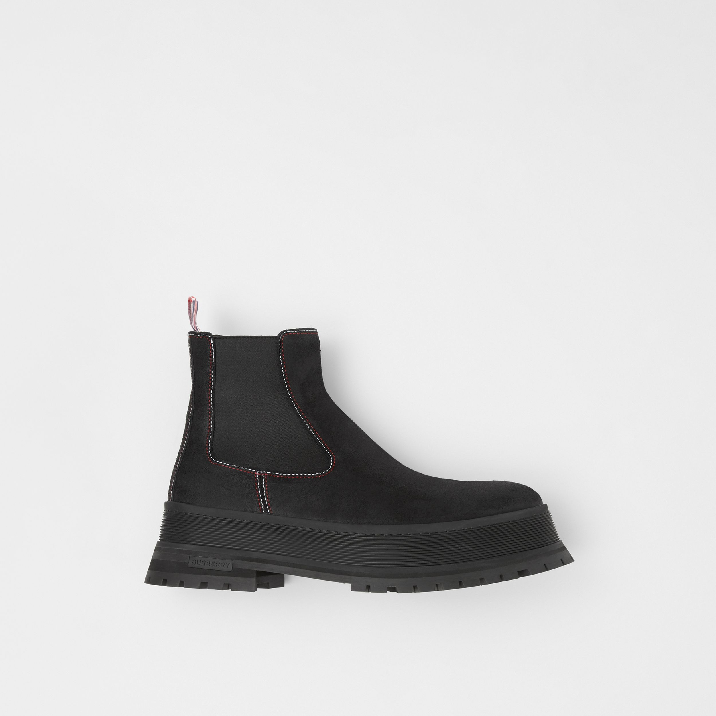 Topstitched Suede Chelsea Boots in Black/red/white - Men | Burberry - 1