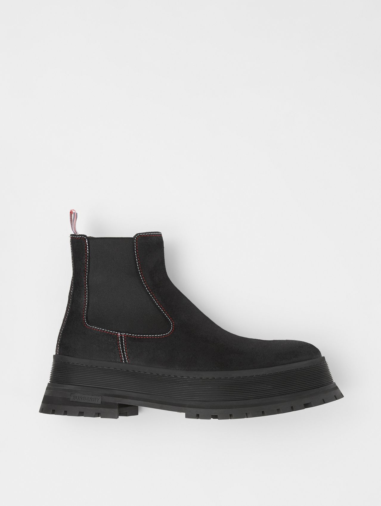 Bottines Chelsea en cuir velours surpiqué in Noir/rouge/blanc