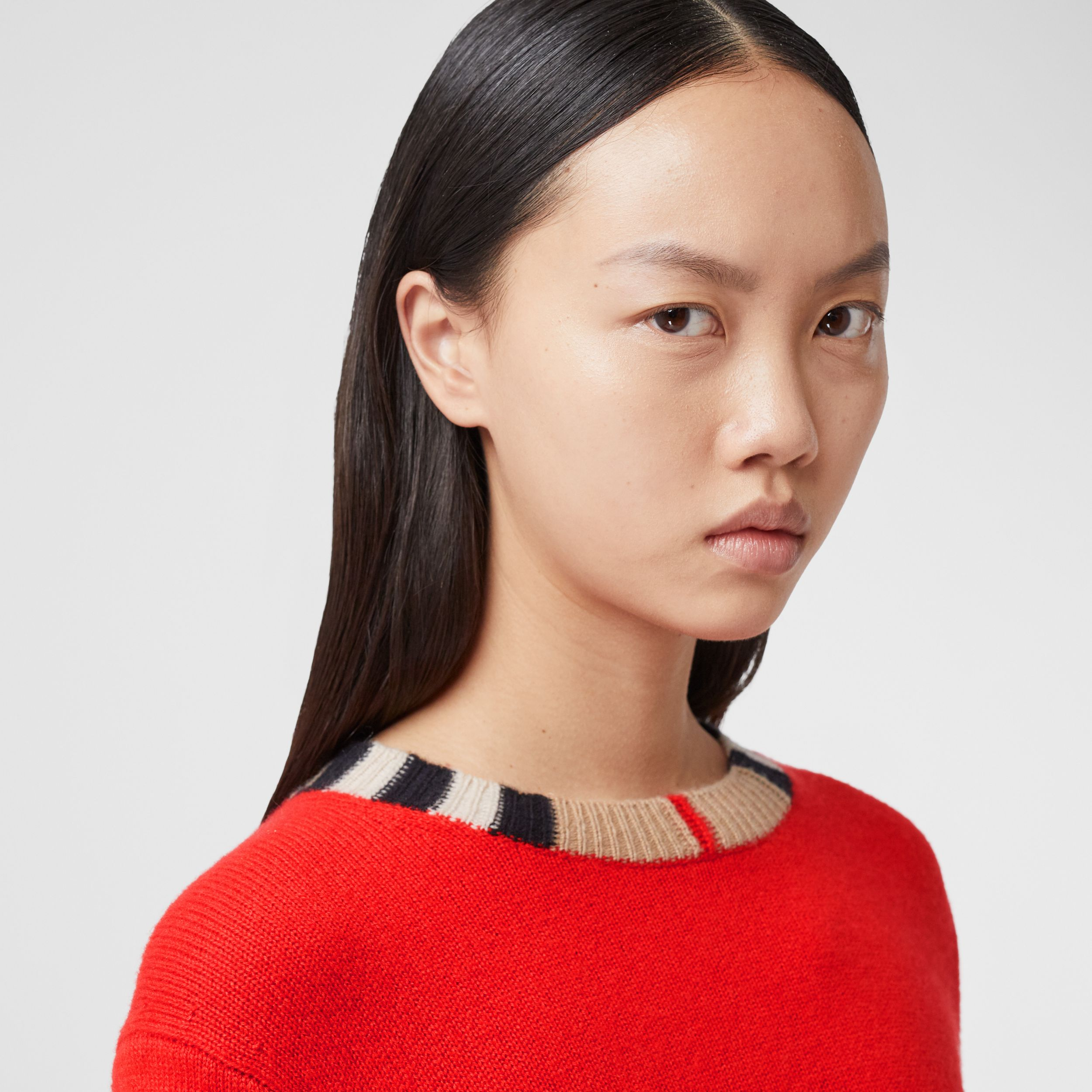 Icon Stripe Trim Cashmere Sweater in Bright Red - Women | Burberry - 2