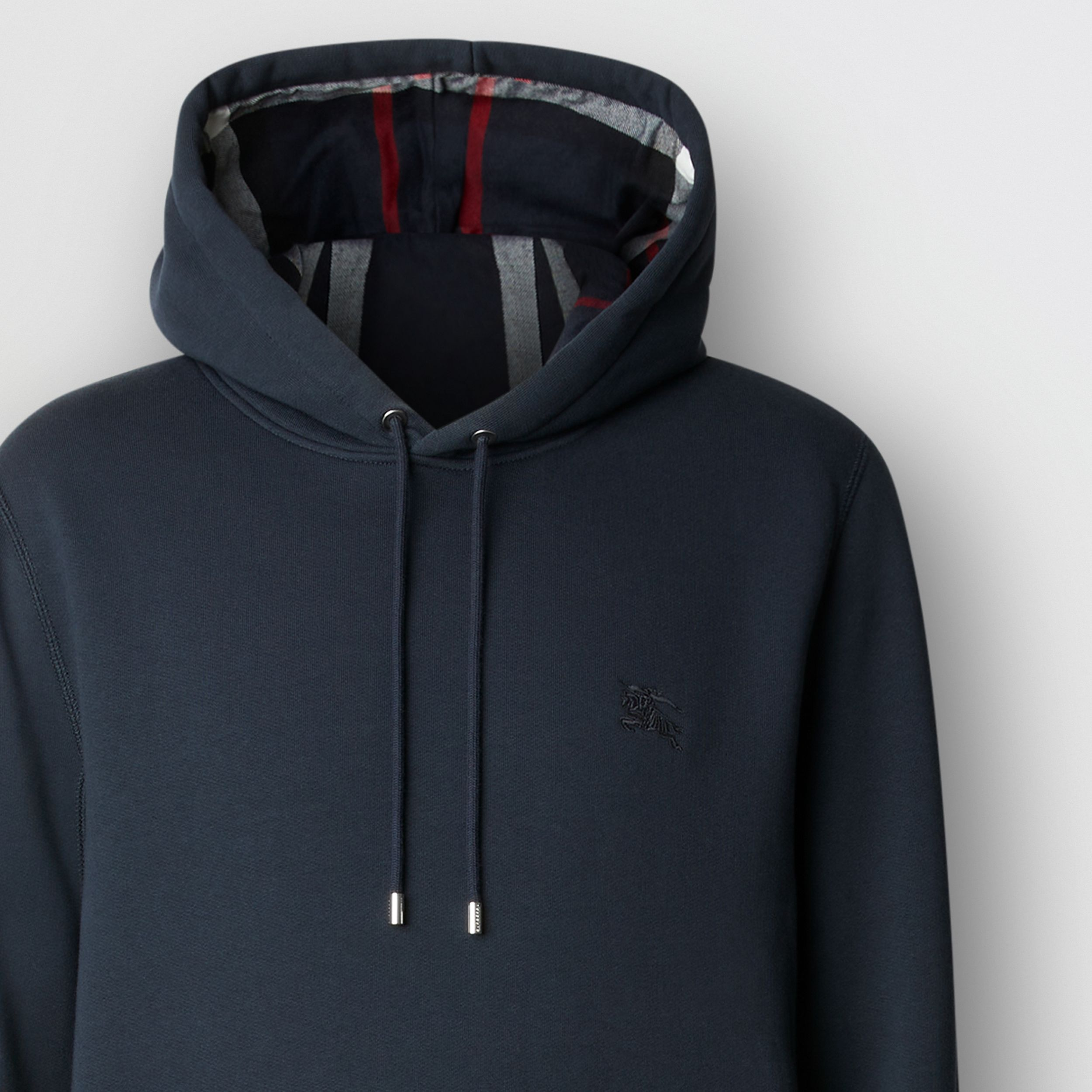 Embroidered EKD Cotton Blend Hoodie in Navy - Men | Burberry - 2