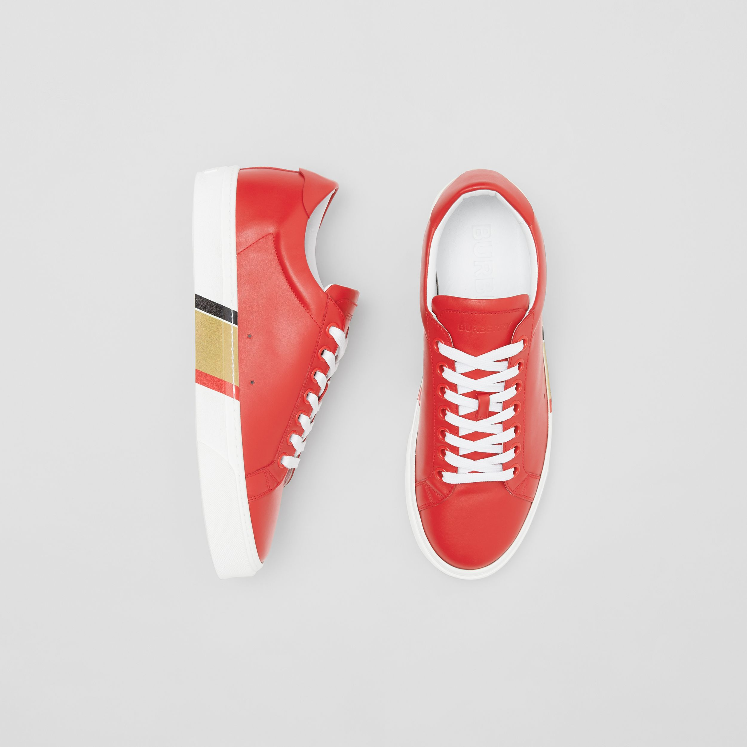 Bio-based Sole Leather Sneakers in Bright Red - Men | Burberry United States - 1